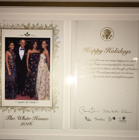 Mayor Brown took a picture of the Obama Family's 2016 holiday card