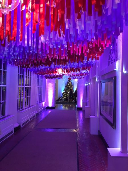 Red, white and blue streamers hanging from the ceiling