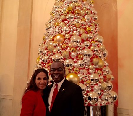 In front of one of the many Christmas trees decorations in the White House