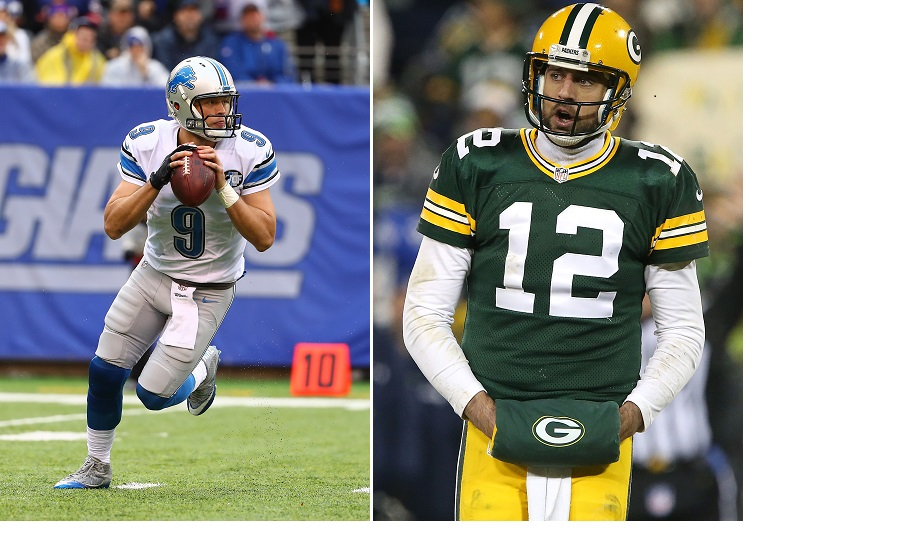 The division title's on the line Sunday when Matthew Stafford and the Lions host Aaron Rodgers and the Packers. (Getty Images)