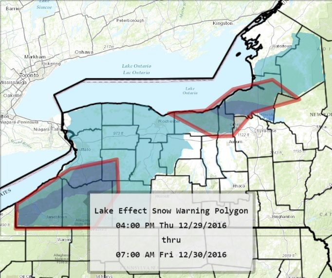 Southern Erie, Chautauqua and Cattaraugus counties were  being hit with heavy lake-effect snow early this morning. It's expected to continue through later today. (National Weather Service)