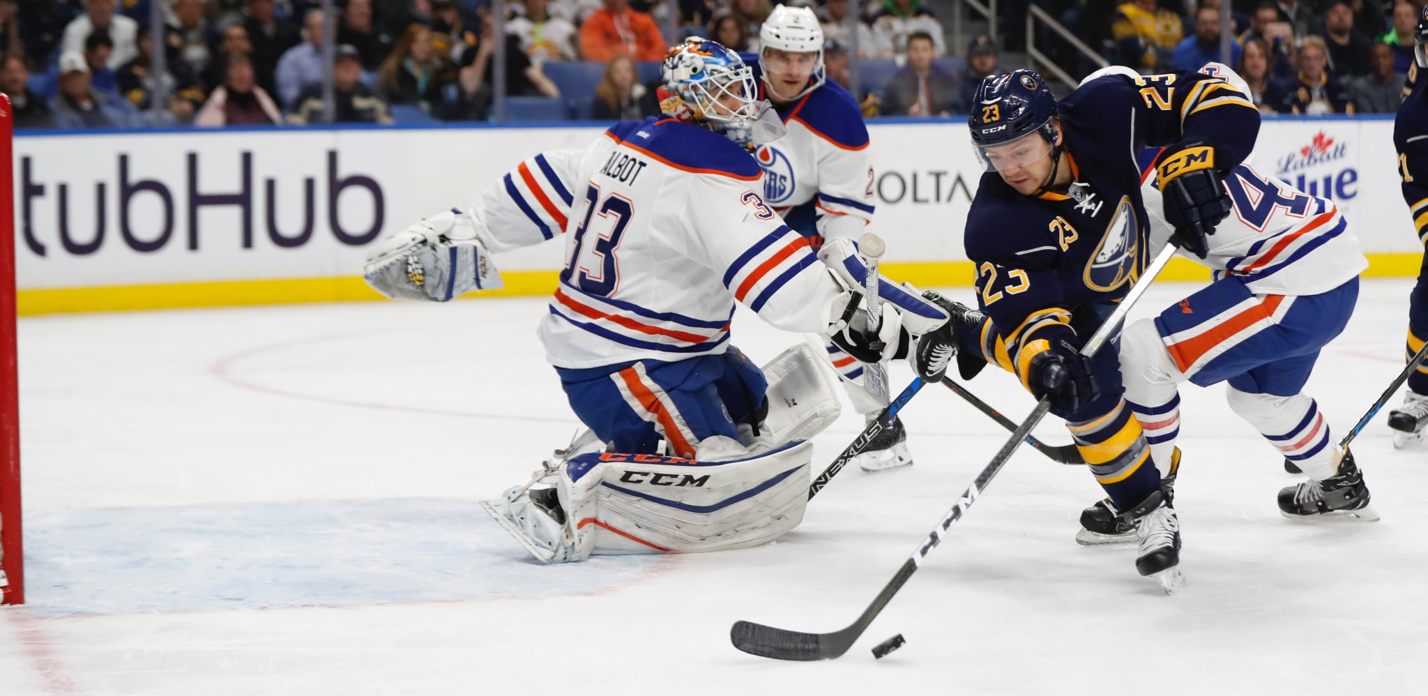 The Sabres' Sam Reinhart can't get a power-play shot past Edmonton goalie Cam Talbot (Harry Scull Jr./Buffalo News)