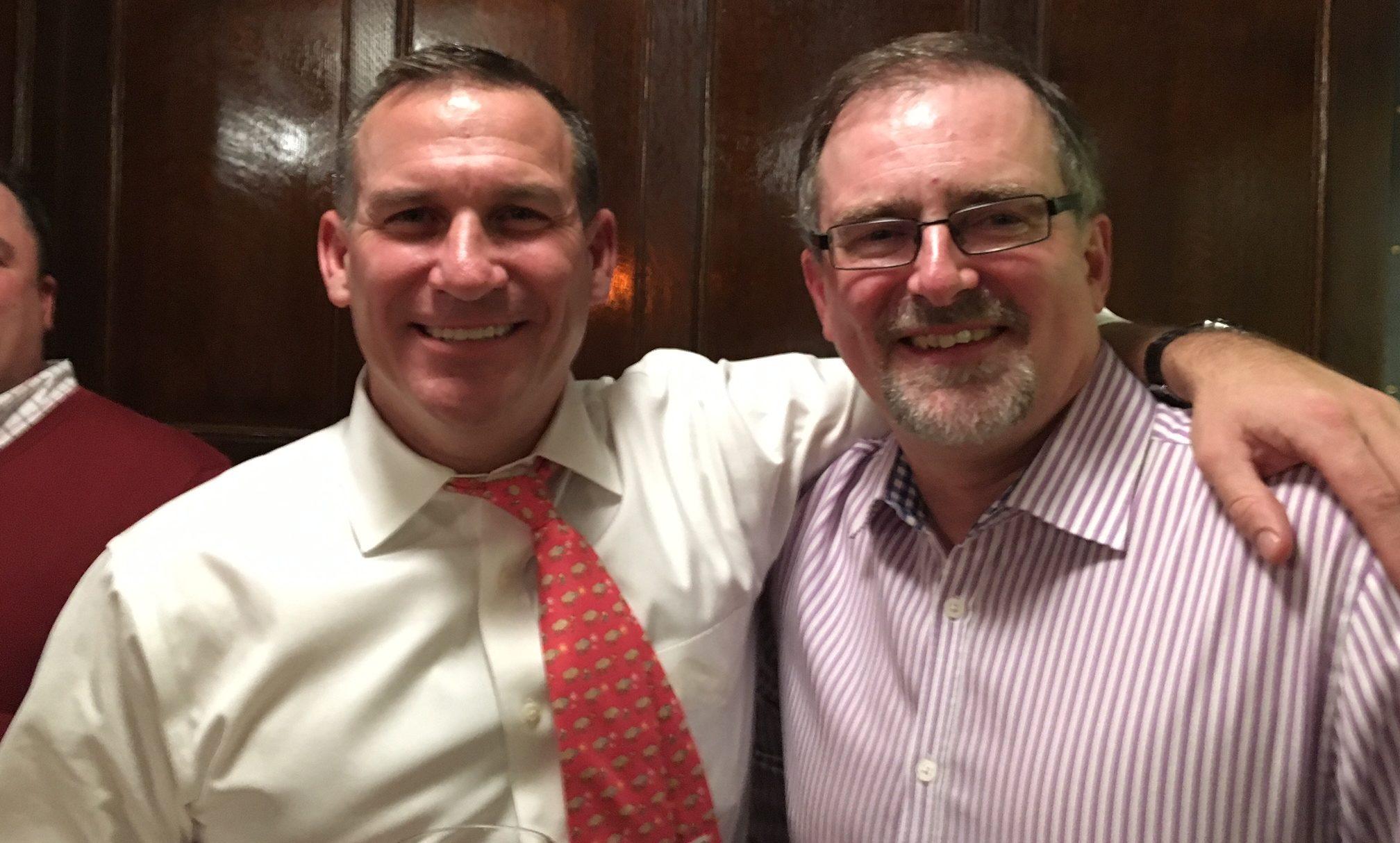 Buffalo native Michael Meade, left, new CEO of Sullivan's Brewing Co. USA, and brew master Ian Hamilton combined with Smithwick family descendants to bring beer from Kilkenny, Ireland, to Buffalo. (Scott Scanlon/Buffalo News)