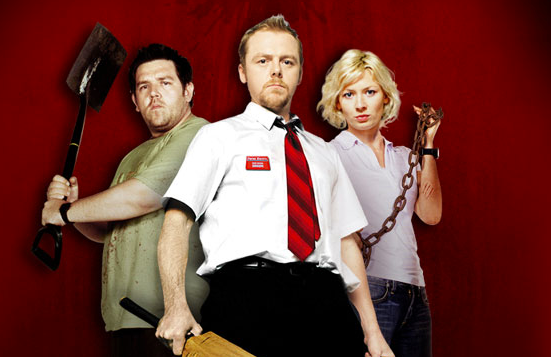 Nick Frost, left Simon Pegg and Kate Ashfield take on zombies in 'Shaun of the Dead.'