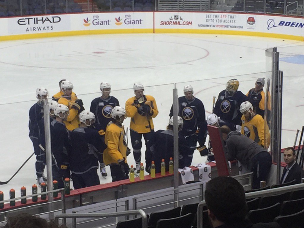 Only a few Sabres took the ice today in Washington (Mike Harrington/Buffalo News).