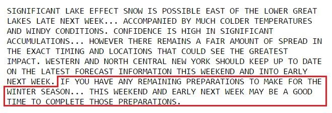 Friday's Hazardous Weather Outlook. (National Weather Service, Buffalo)