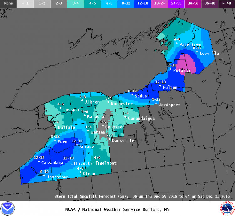Up to 18 inches of snow is possible in the tri-county area including southern Erie, Chautauqua and Cattaraugus counties. (National Weather Service)