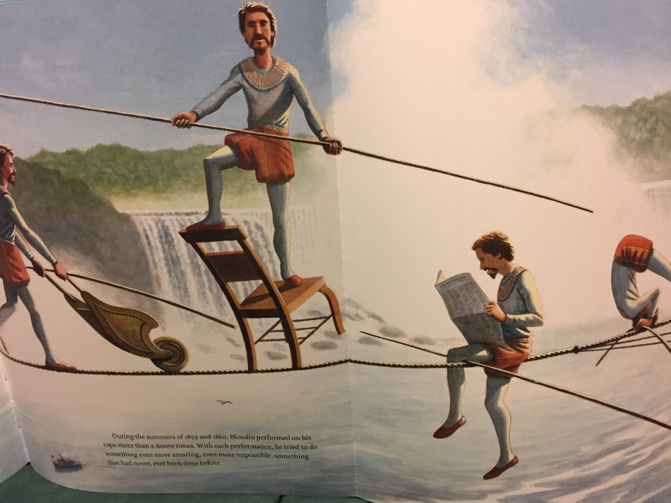 "Detail of illustration from Matt Tavares' book, ""Crossing Niagara: The Death-Defying Tightrope Adventures of the Great Blondin."""