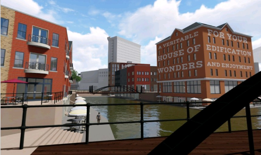 Proposed plan to reinvigorate Canalside envisions this view from the Commercial Street Bridge looking east toward Main Street. A museum building and low-scale, mixed-use buildings would be built on the former Auditorium site. Traditional materials are used in contemporary ways in mixed-use buildings. (Campaign for Greater Buffalo History, Architecture & Culture)