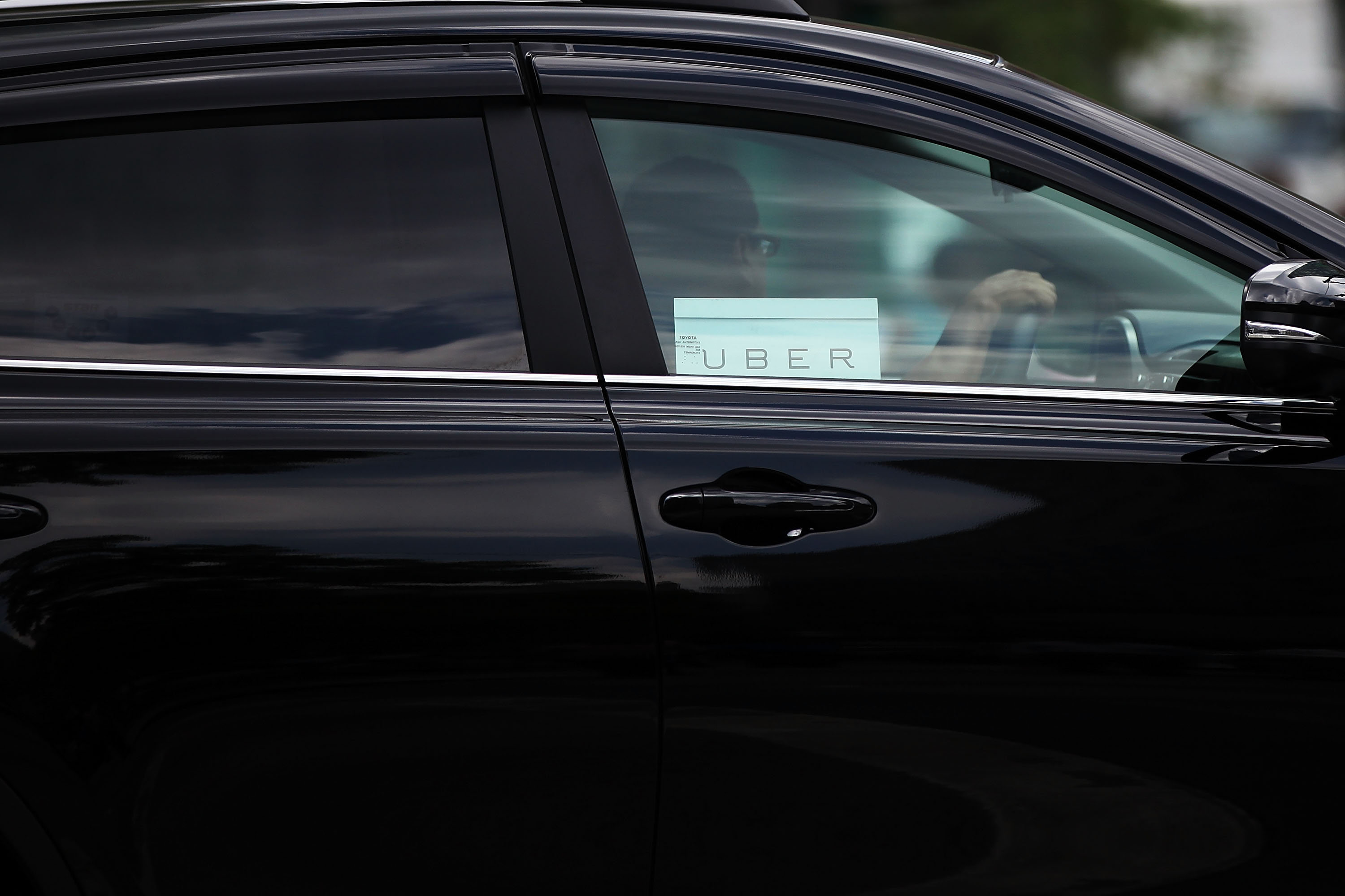 An Uber vehicle is viewed in Manhattan in July. (Getty Images)