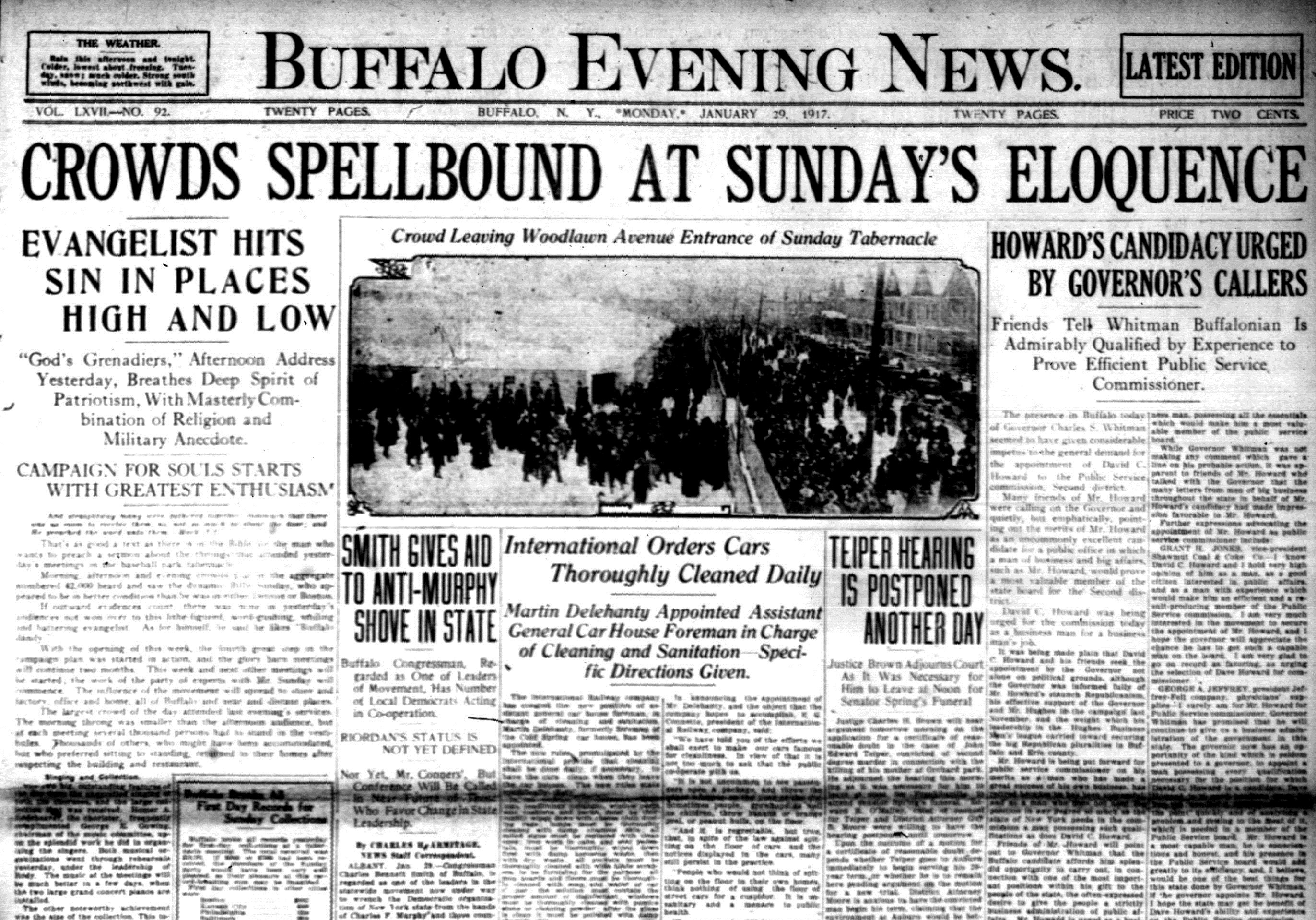 Front page, Jan. 29, 1917: 42,000 flock to famed evangelist's sermons