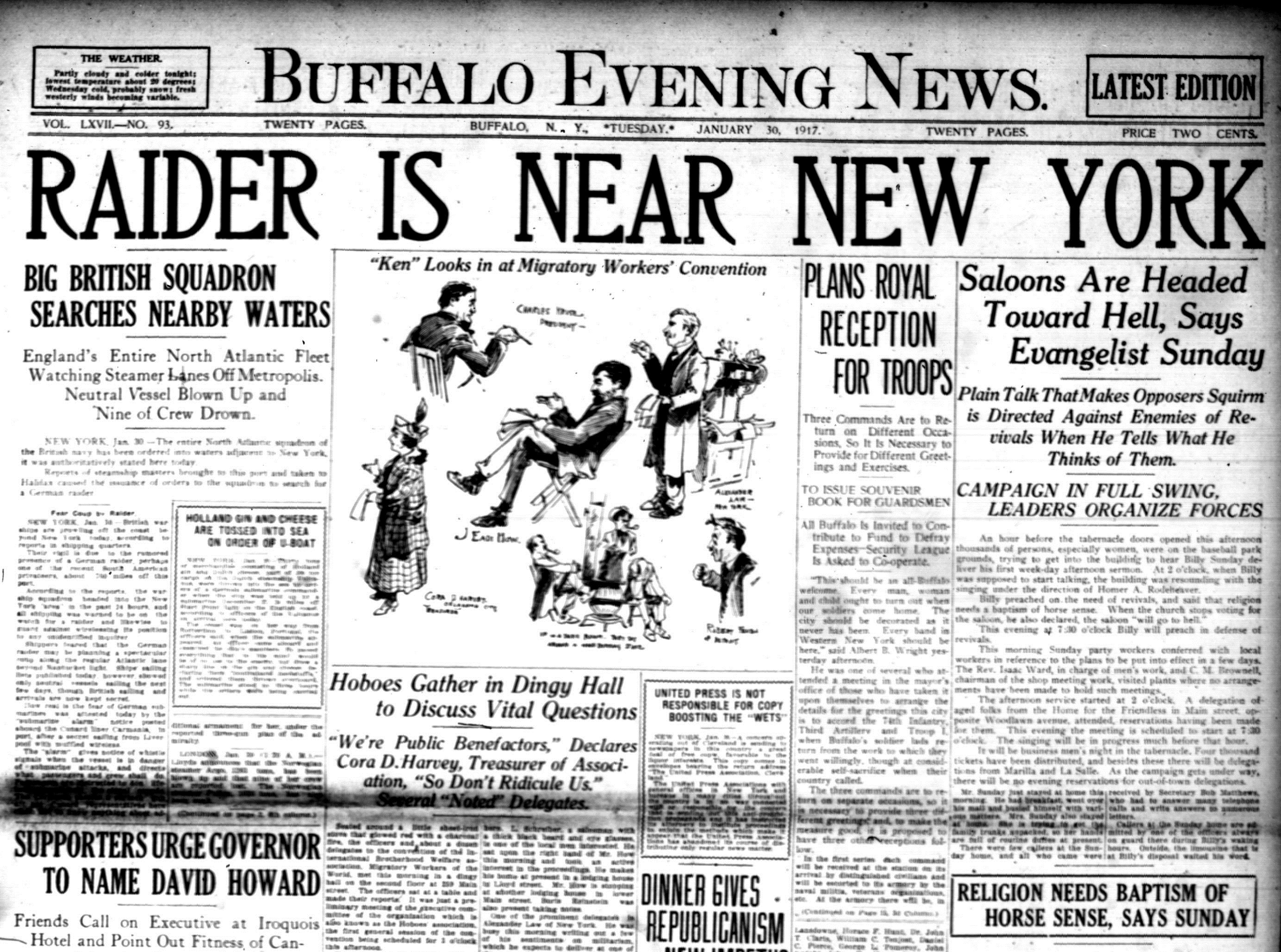 Front page, Jan. 30, 1917: A gathering of 'hoboes' and pheasants near the Pierce-Arrow plant