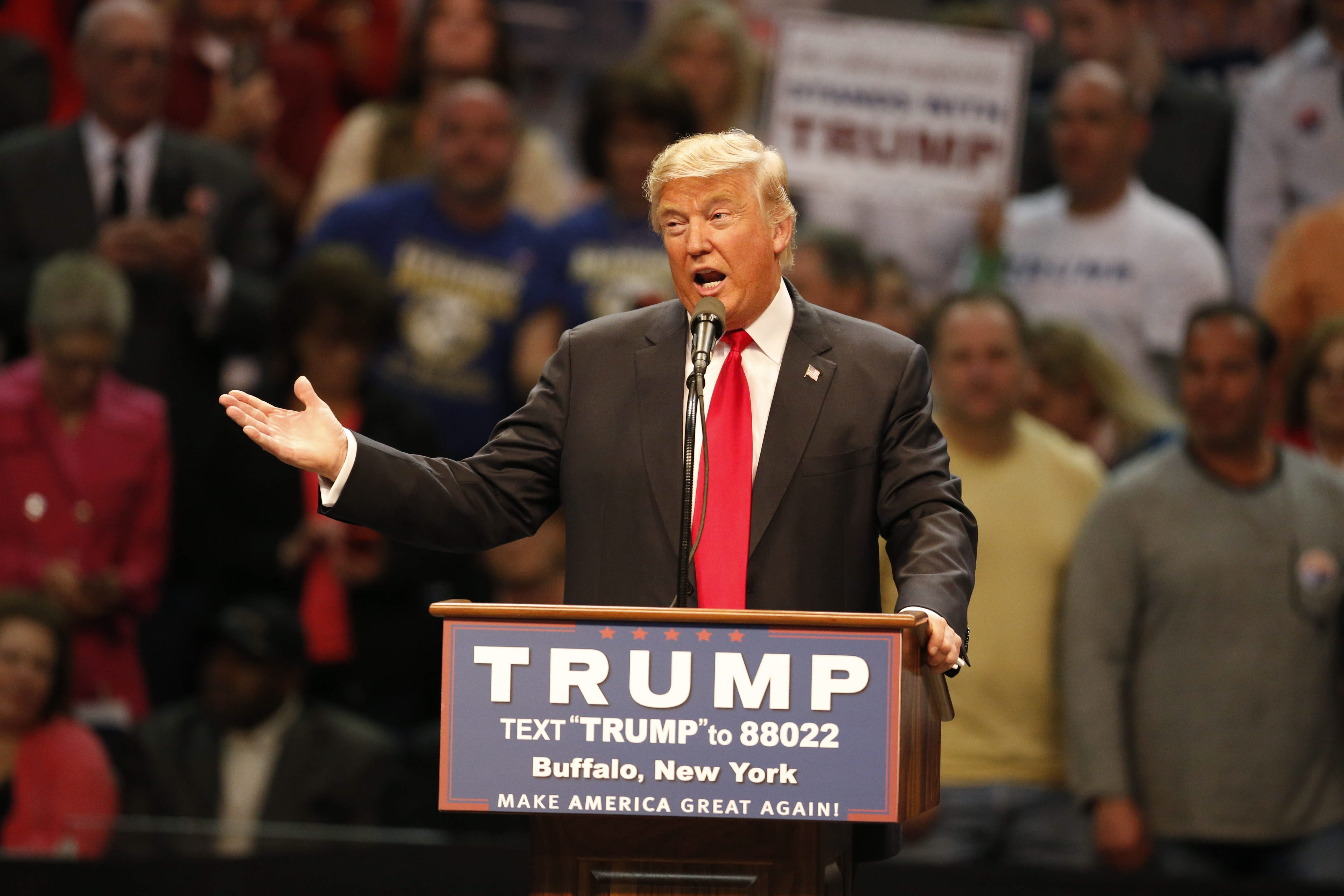 Donald Trump speaks during his stop at then-First Niagara Center in Buffalo on April 18, 2016.  (Derek Gee/News file photo)