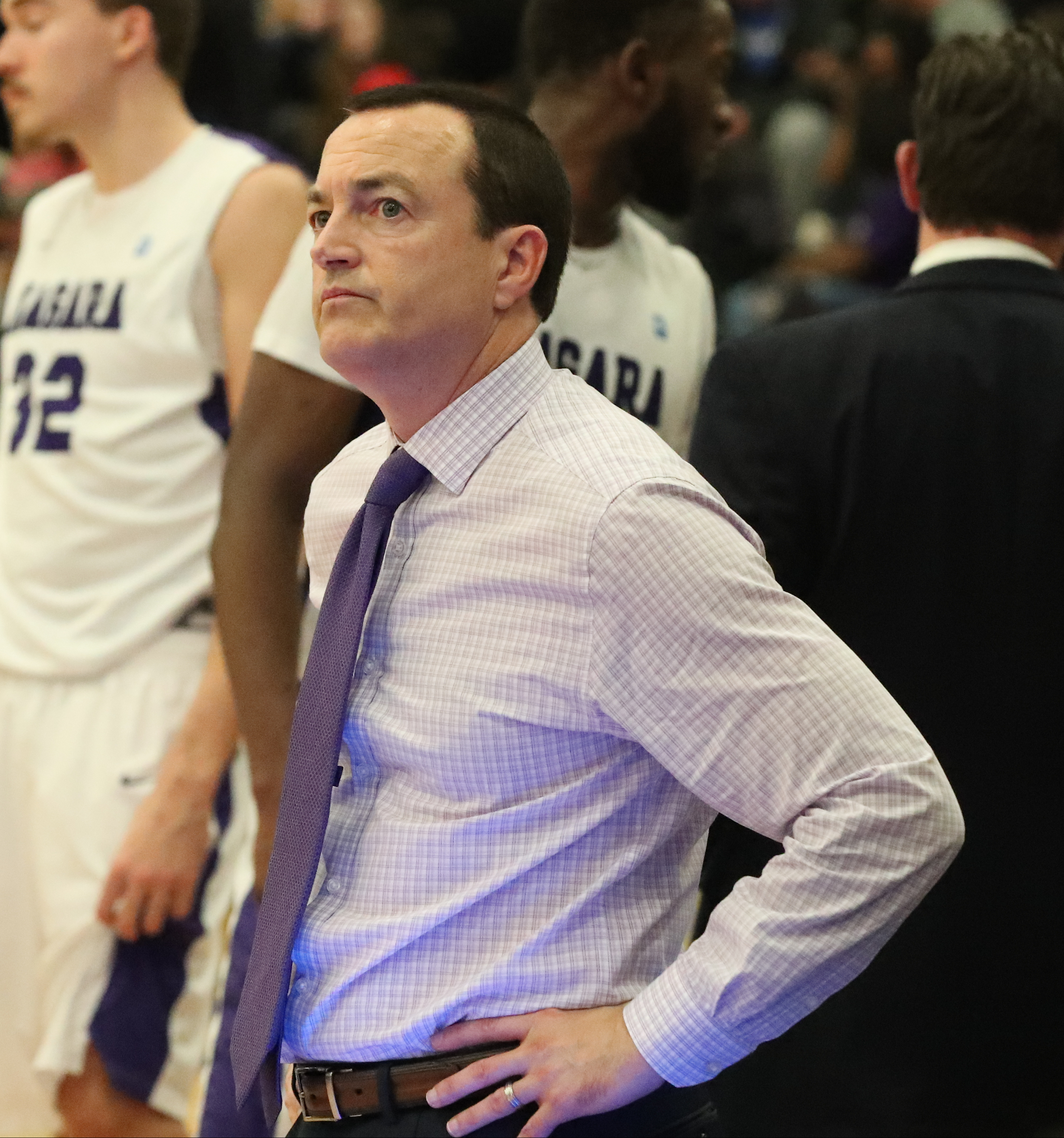 Things have been on the upswing for Chris Casey and the Niagara men's basketball team. (James P. McCoy/Buffalo News)