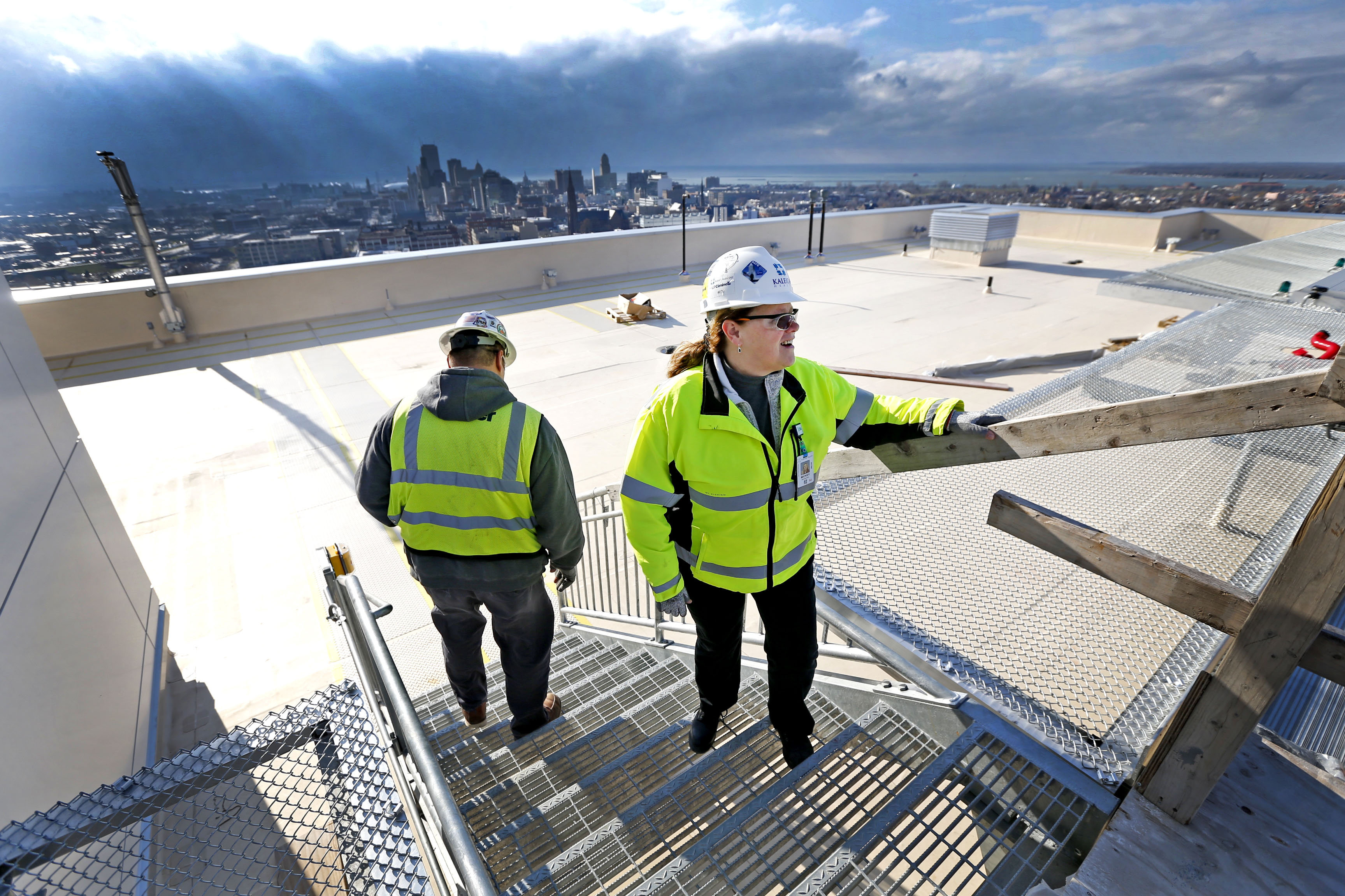 Mickey Mariacher, right, Kaleida's director of construction management, and Matt Sikora, Turner construction's general superintendent, survey the recently installed helicopter landing pad on the roof of the new Oishei Children's Hospital in December. (Robert Kirkham/Buffalo News)