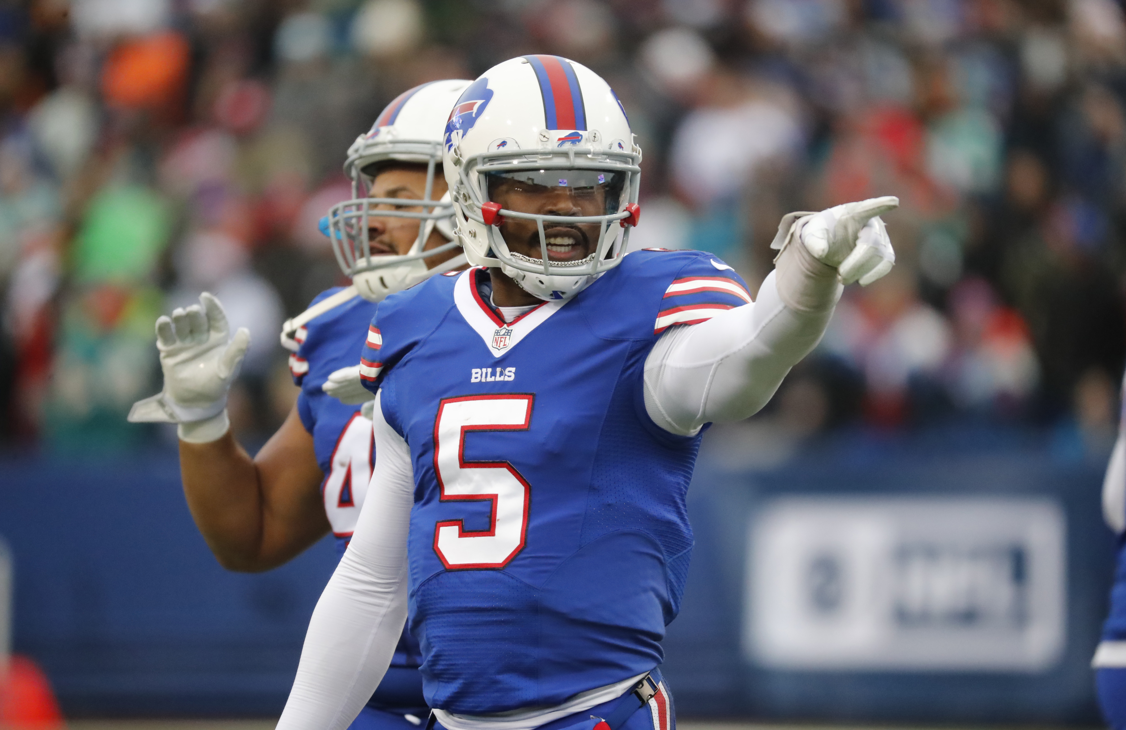 The Bills' salary-cap space will be altered depending on what the team does with quarterback Tyrod Taylor. (Harry Scull Jr./Buffalo News)