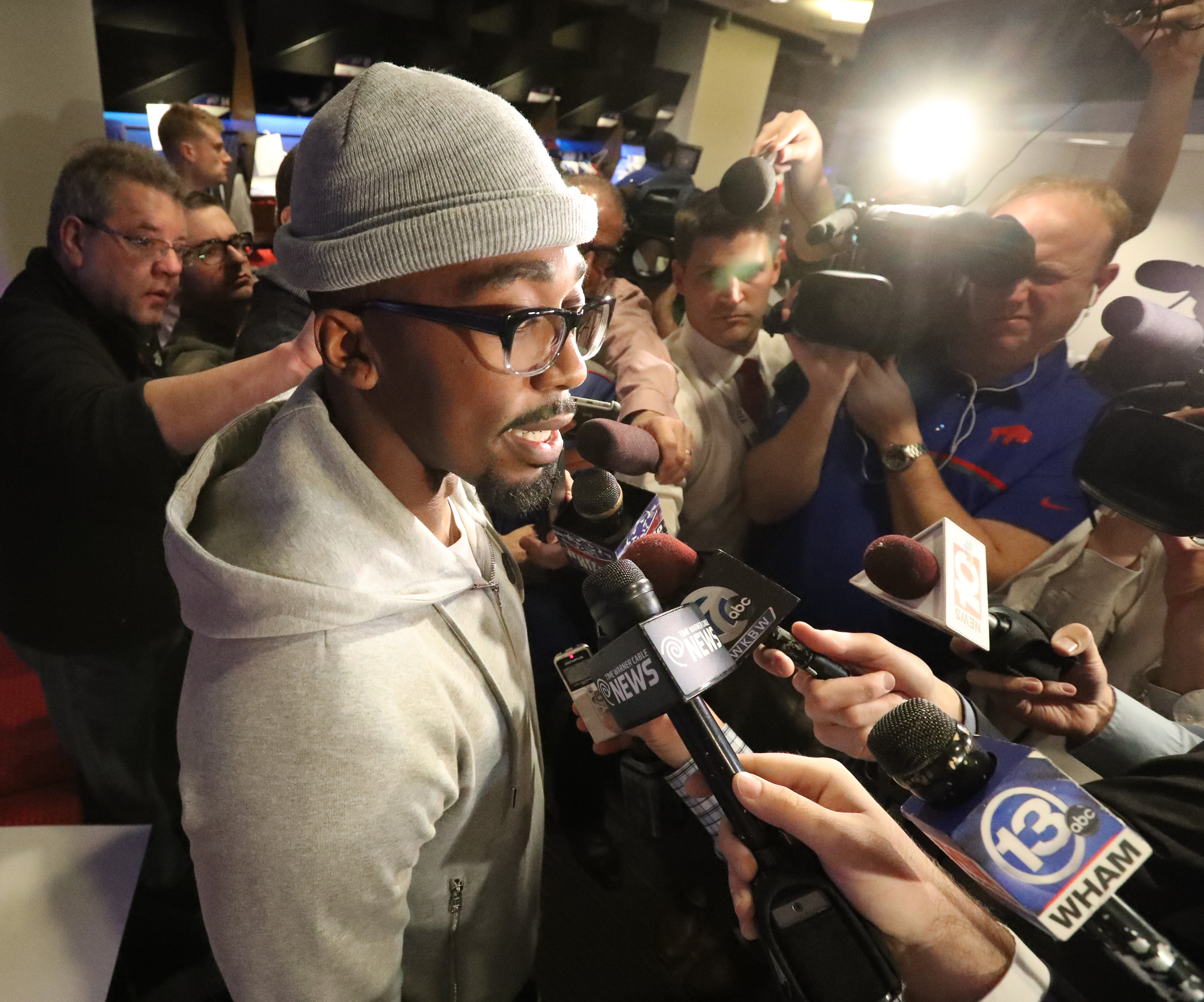 Quarterback Tyrod Taylor kept the same locker this season, but those around him have changed. (James P. McCoy/Buffalo News)