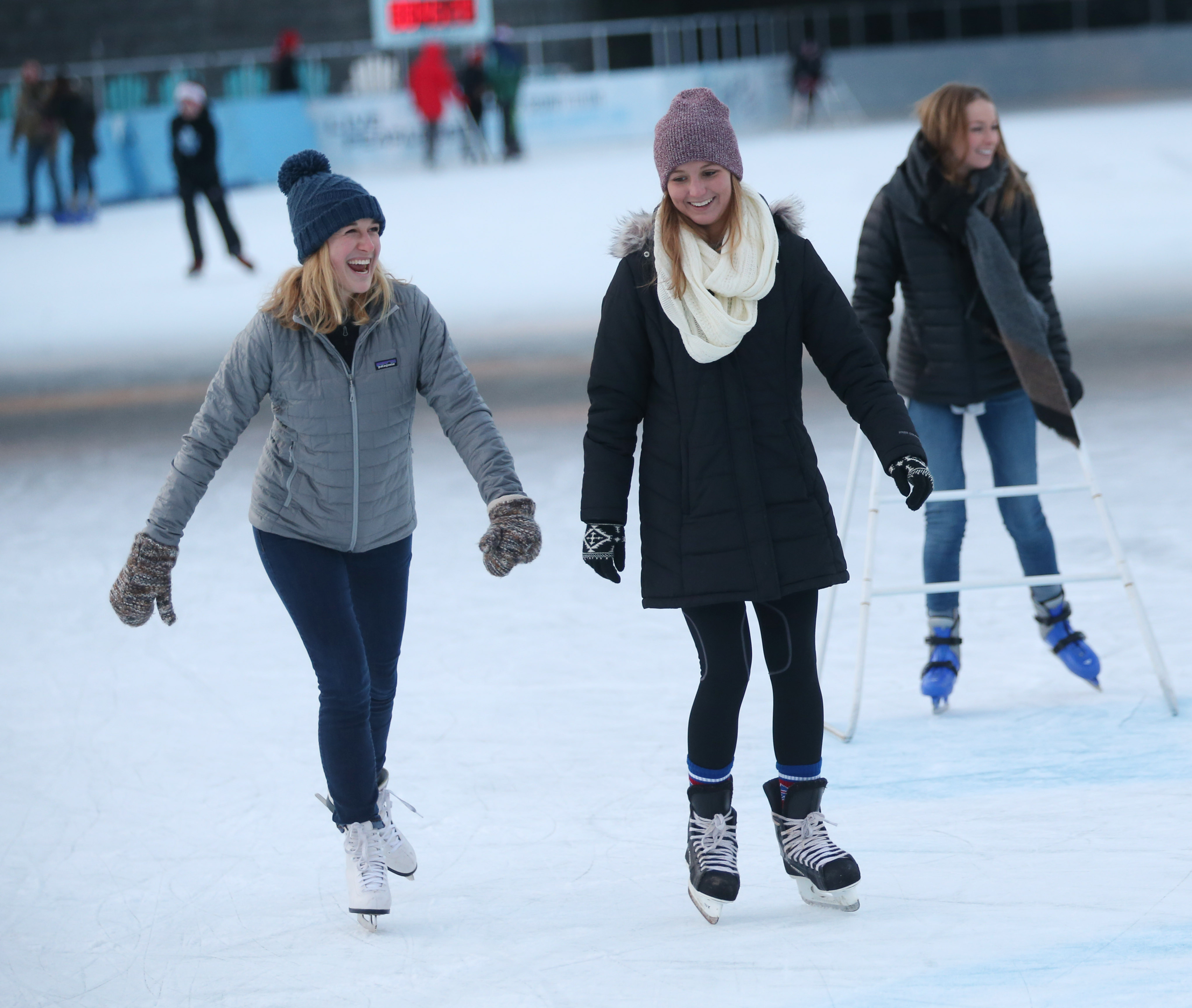 Hannah Johnston, left, and Katie Wolfe enjoy a recent visit to The Ice at Canalside. (Sharon Cantillon/Buffalo News)