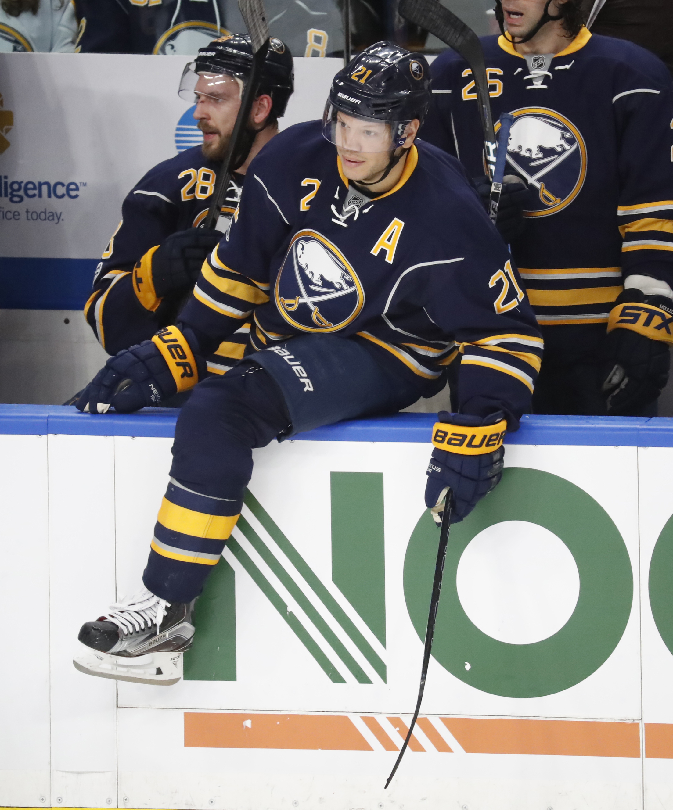 Kyle Okposo will miss this weekend's game after suffering a rib cage injury on Thursday. (Harry Scull Jr./Buffalo News)