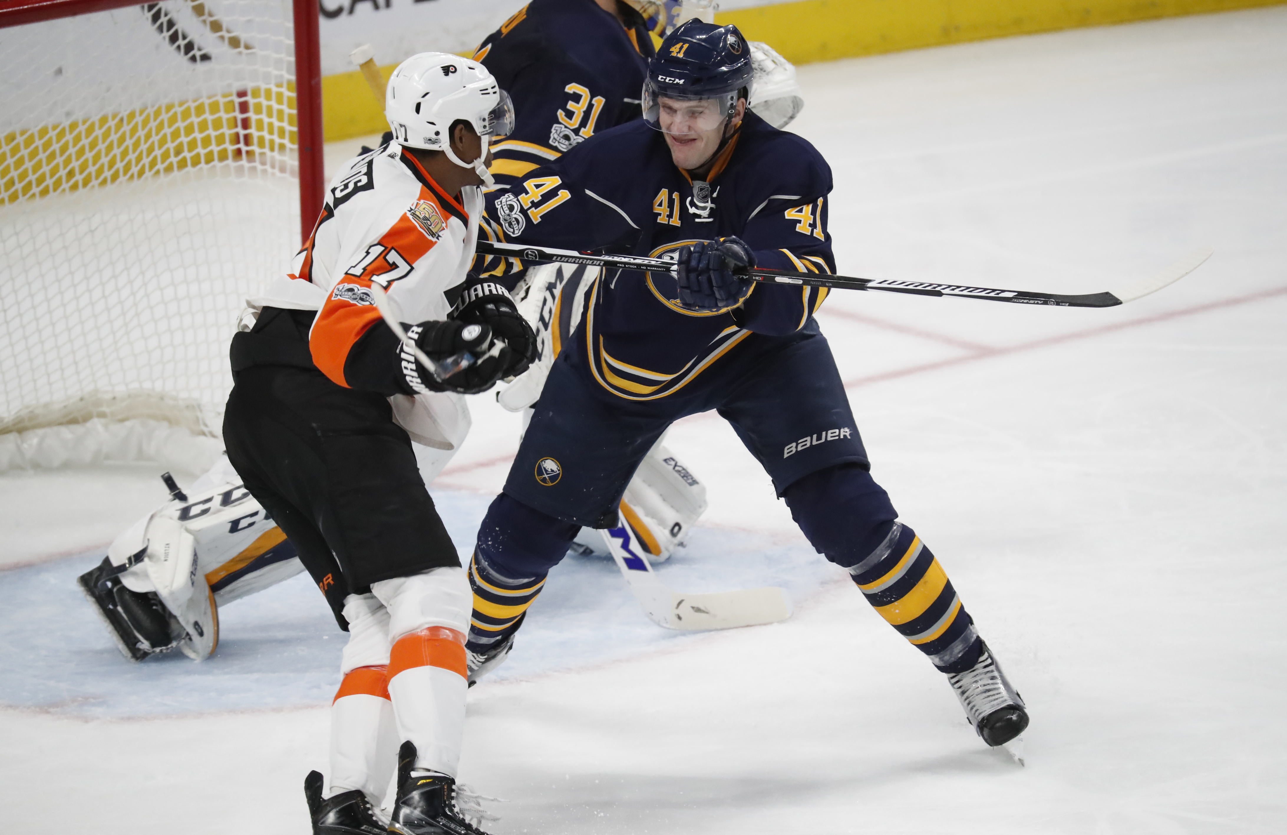 Justin Falk said emotions were running high at Sabres practice.. (Harry Scull Jr./File photo)