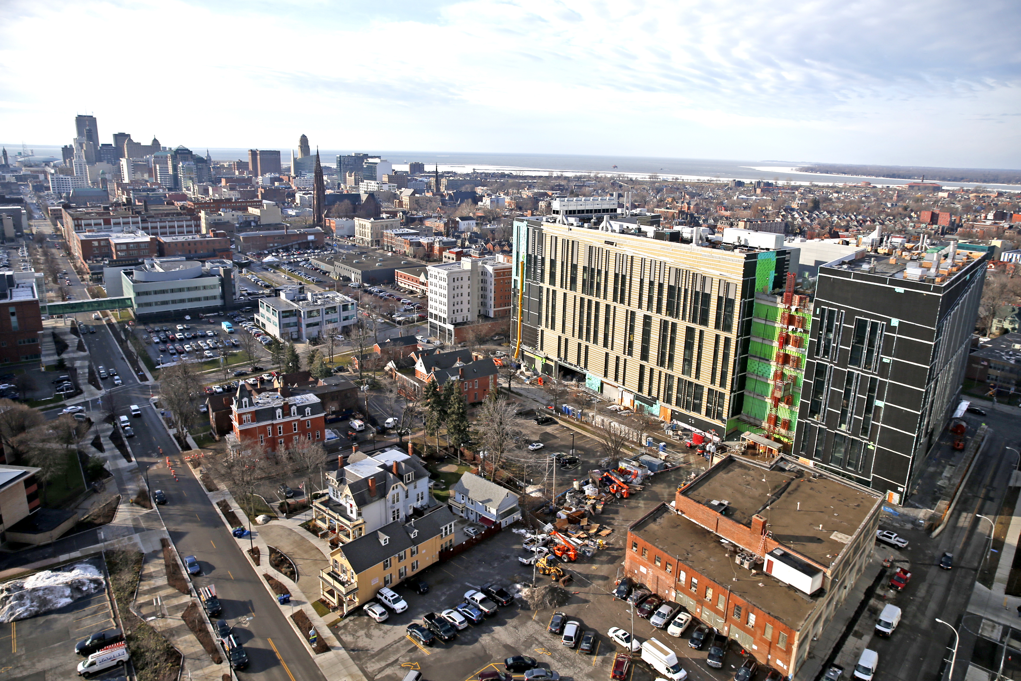 Construction continues on the UB Jacobs School of Medicine as seen from the roof of Buffalo General on Tuesday, Jan. 10, 2017.  (Robert Kirkham/Buffalo News)