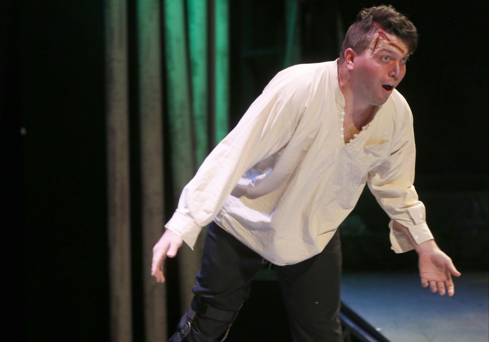Actor Steve Copps as 'The Creation' in Road Less Traveled Theatre's new adaptation of 'Frankenstein.' (Robert Kirkham/Buffalo News)