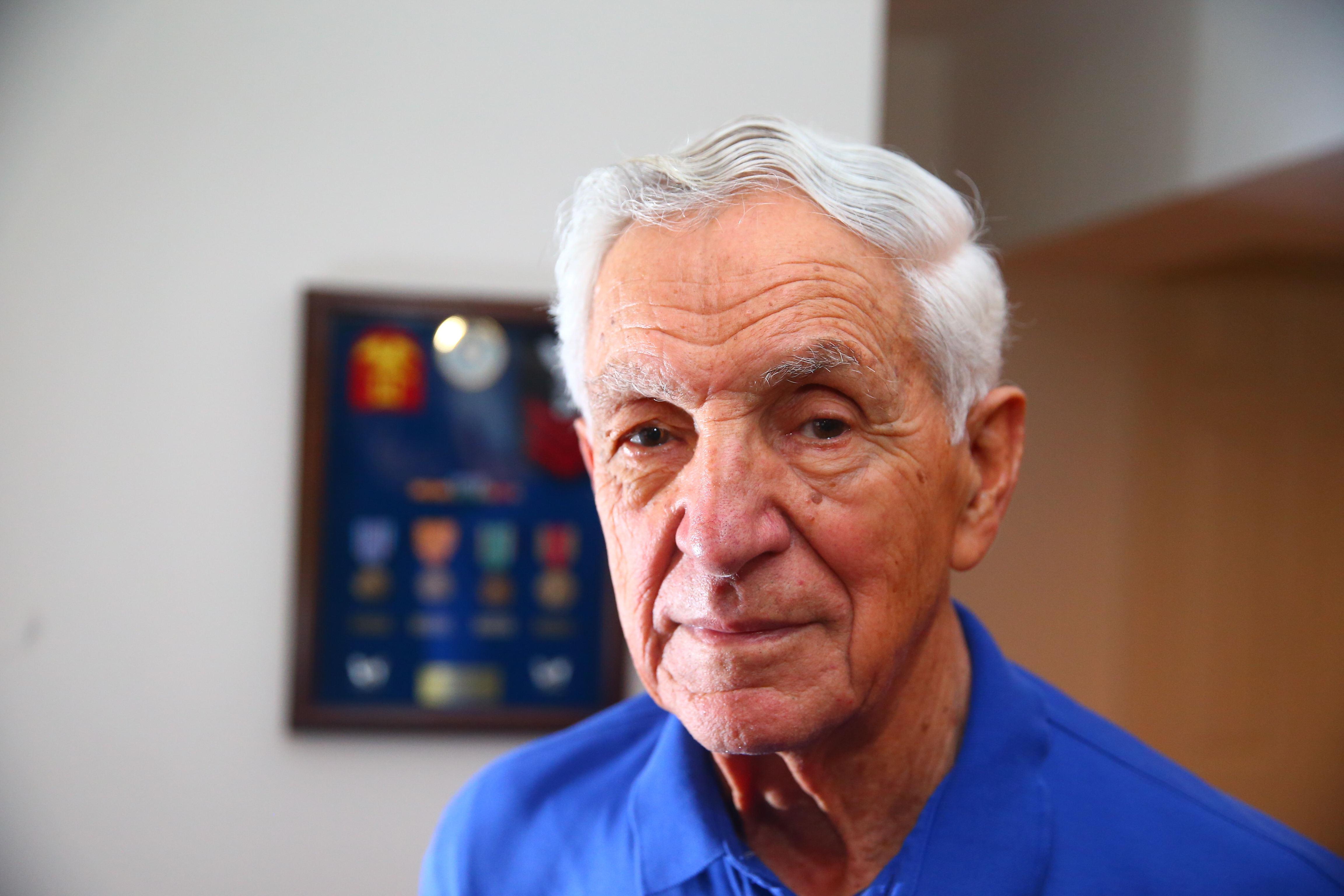 WWII Coast Guard vet Gregory Sanchez served aboard the USS Cepheus. He enlisted because he wanted to take a stand against Hitler. (John Hickey/Buffalo News)