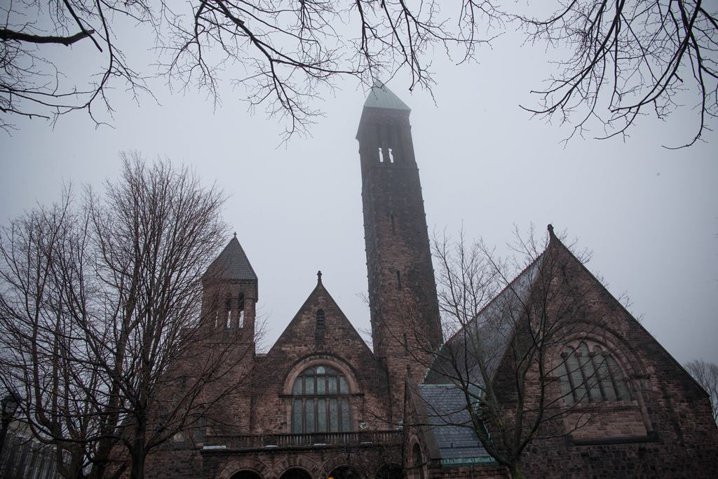 The tower of the  First Presbyterian Church of Buffalo in Symphony Circle is badly in need of repair.  (Derek Gee/Buffalo News)