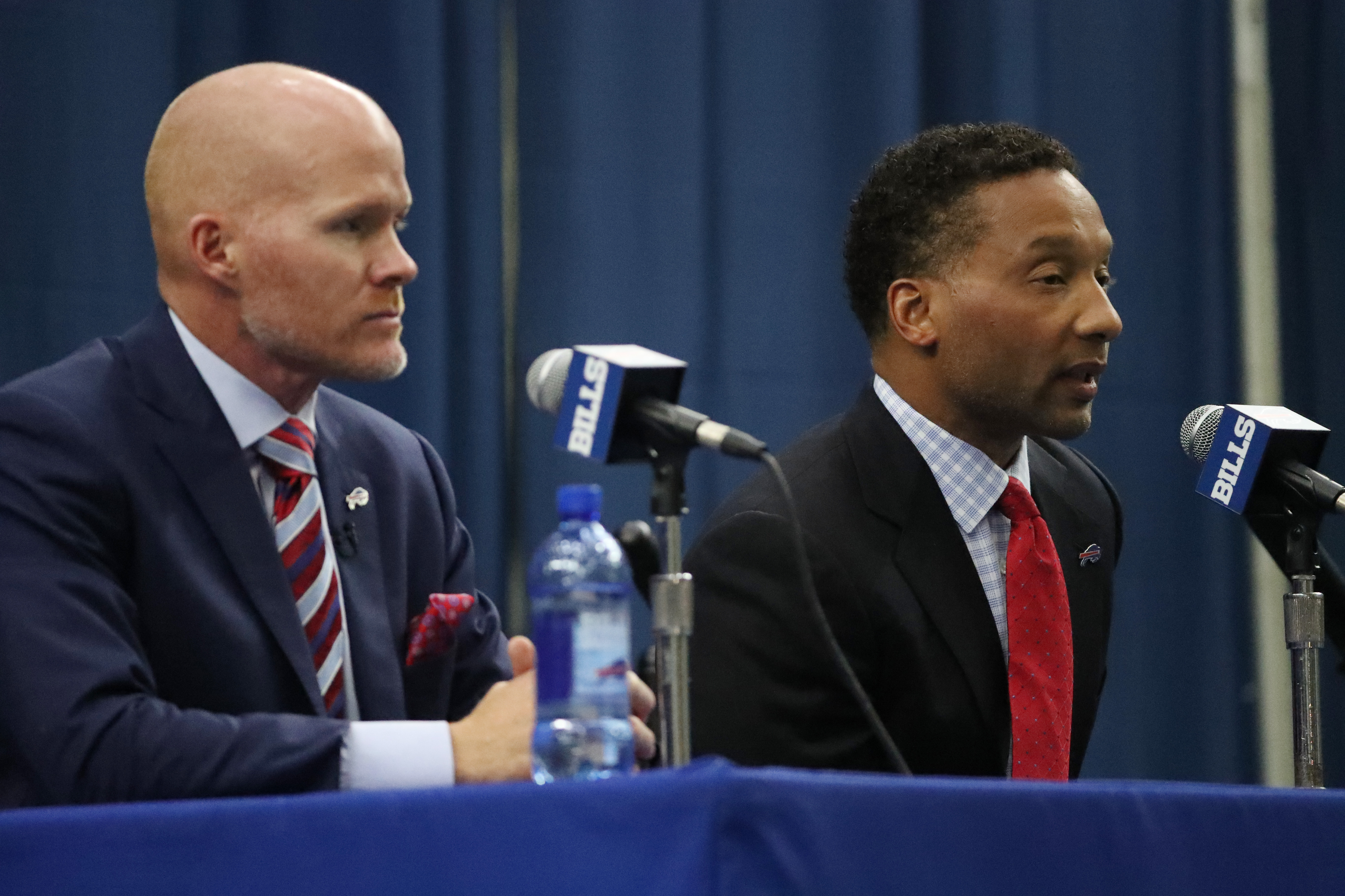 General Manager Doug Whaley's recent comments could signal a new direction for the team under new head coach Sean McDermott, left. (James P. McCoy/Buffalo News)