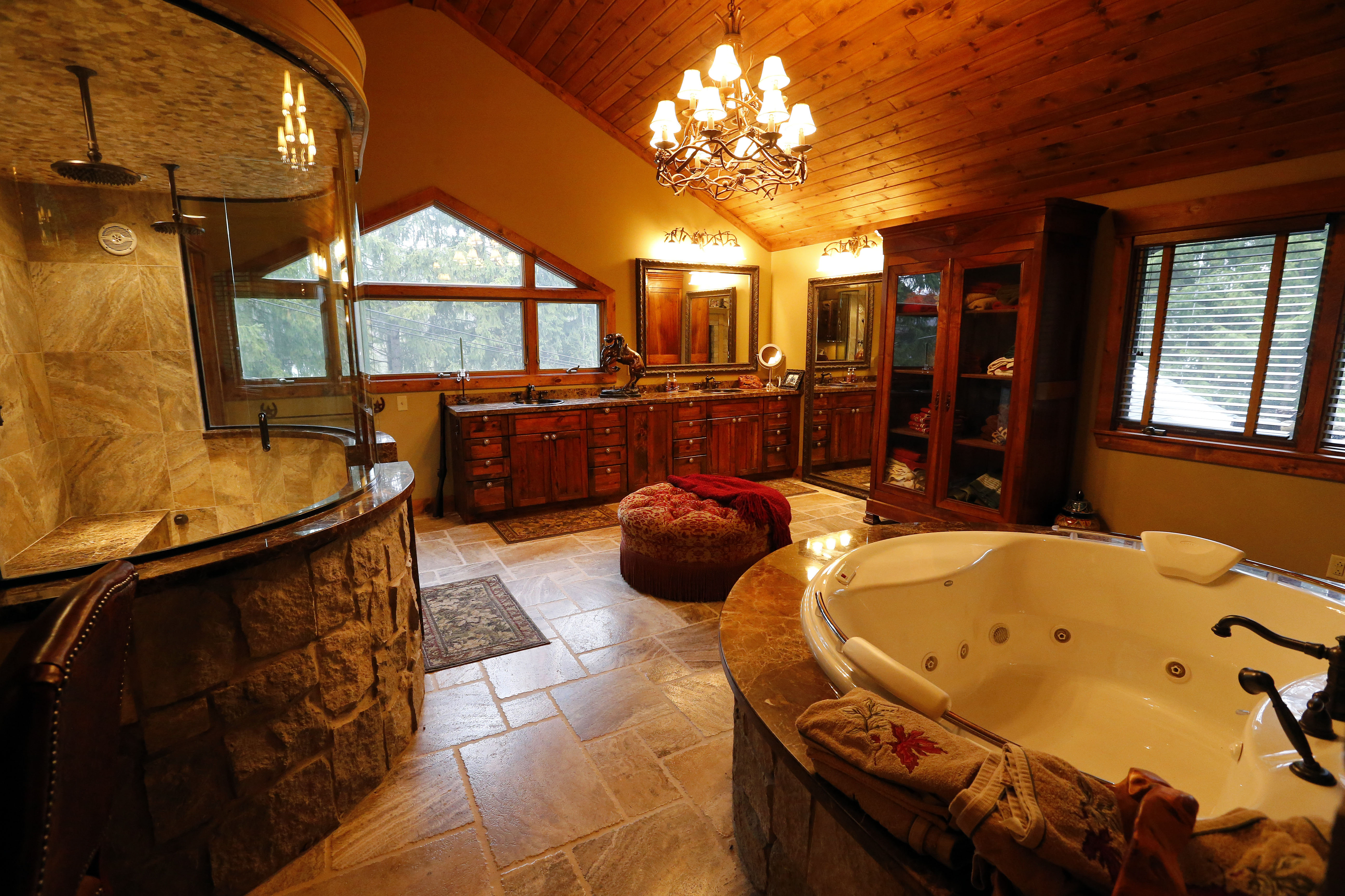 The master bath is part of the addition Kent and Lisa Keating put on their Ellicottville home. Photo by Mark Mulville/Buffalo News