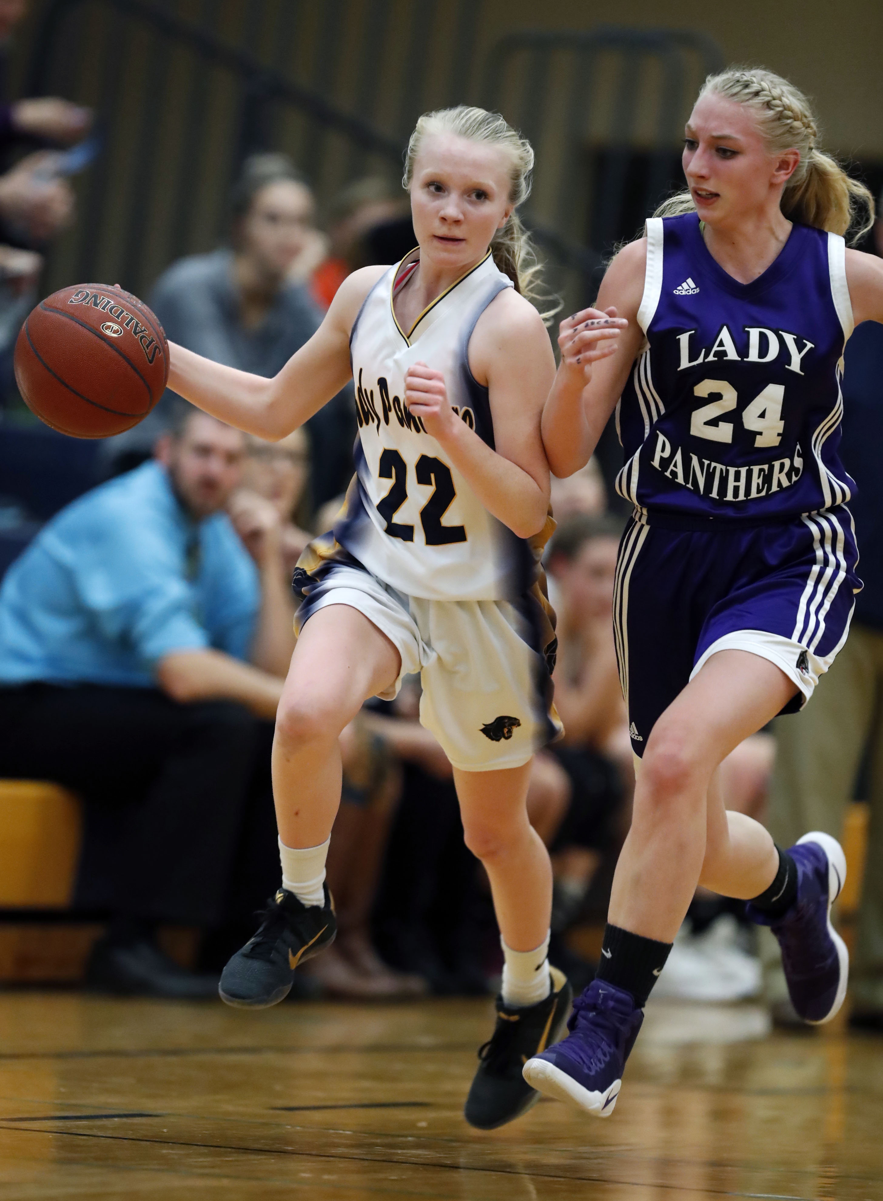 Franklinville's Danielle Haskell is guarded by Pine Valley's Zoe Nelson during first half action at Franklinville Tuesday. Haskell scored 23 points in a 67-36 win for Franklinville. (Harry Scull Jr./Buffalo News)