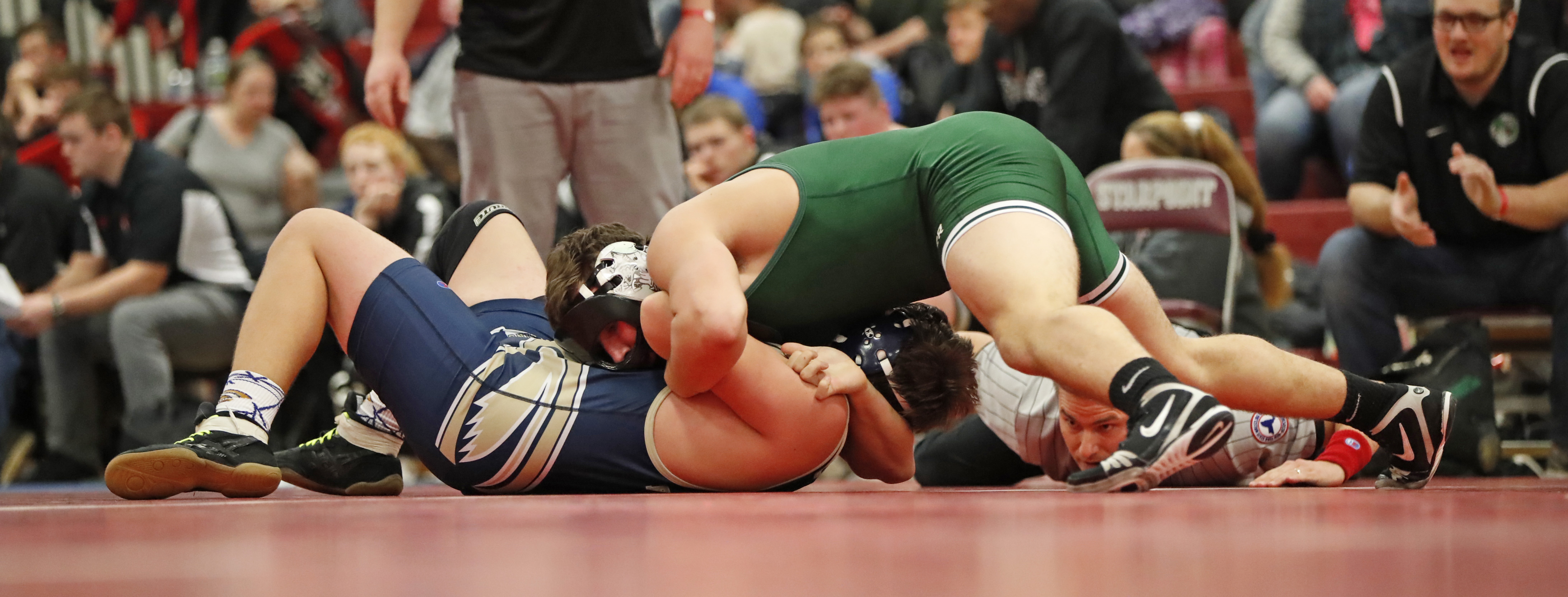 Tyler Smith gets Pioneer off to a winning start by defeating Falconer's Grant Cheney at 195 pounds during the Section VI Division II dual-meet championship wrestling match between the teams Saturday at Starpoint High School.  (Harry Scull Jr./Buffalo News)