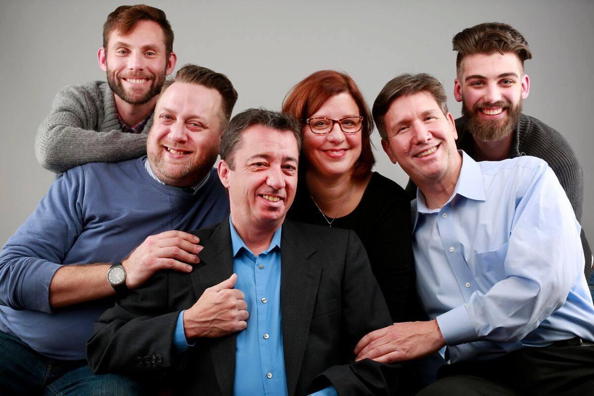 Michael Seitz, Eric Rawski, Timothy Finnegan, Caitlin Baeumler Coleman, David Granville and Zachary Bellus appear in Buffalo United Artists' production of 'Steve.'