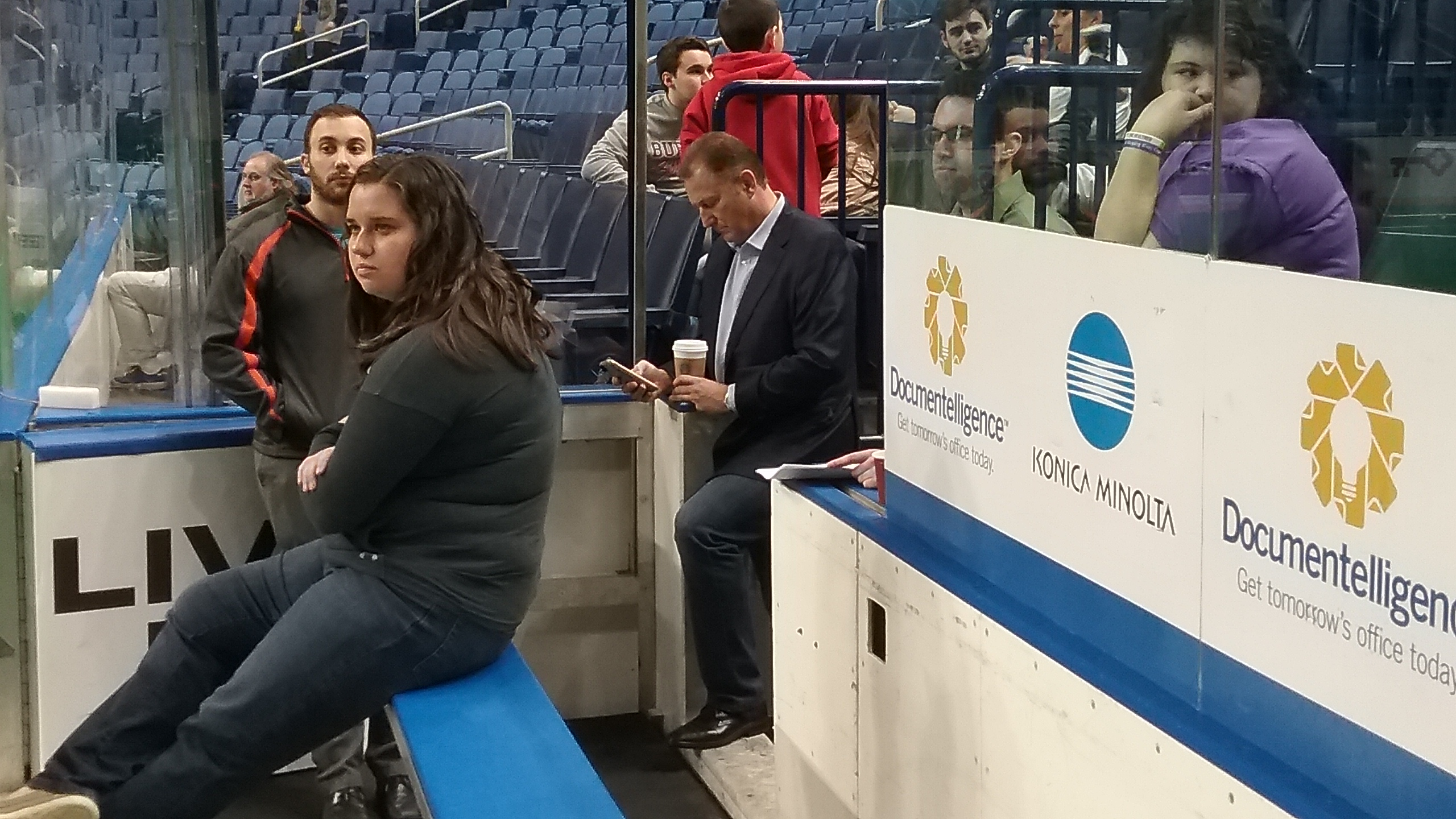 NLL Commissioner Nick Sakiewicz checks his messages from the Bandits' bench during Saturday's morning shootaround.