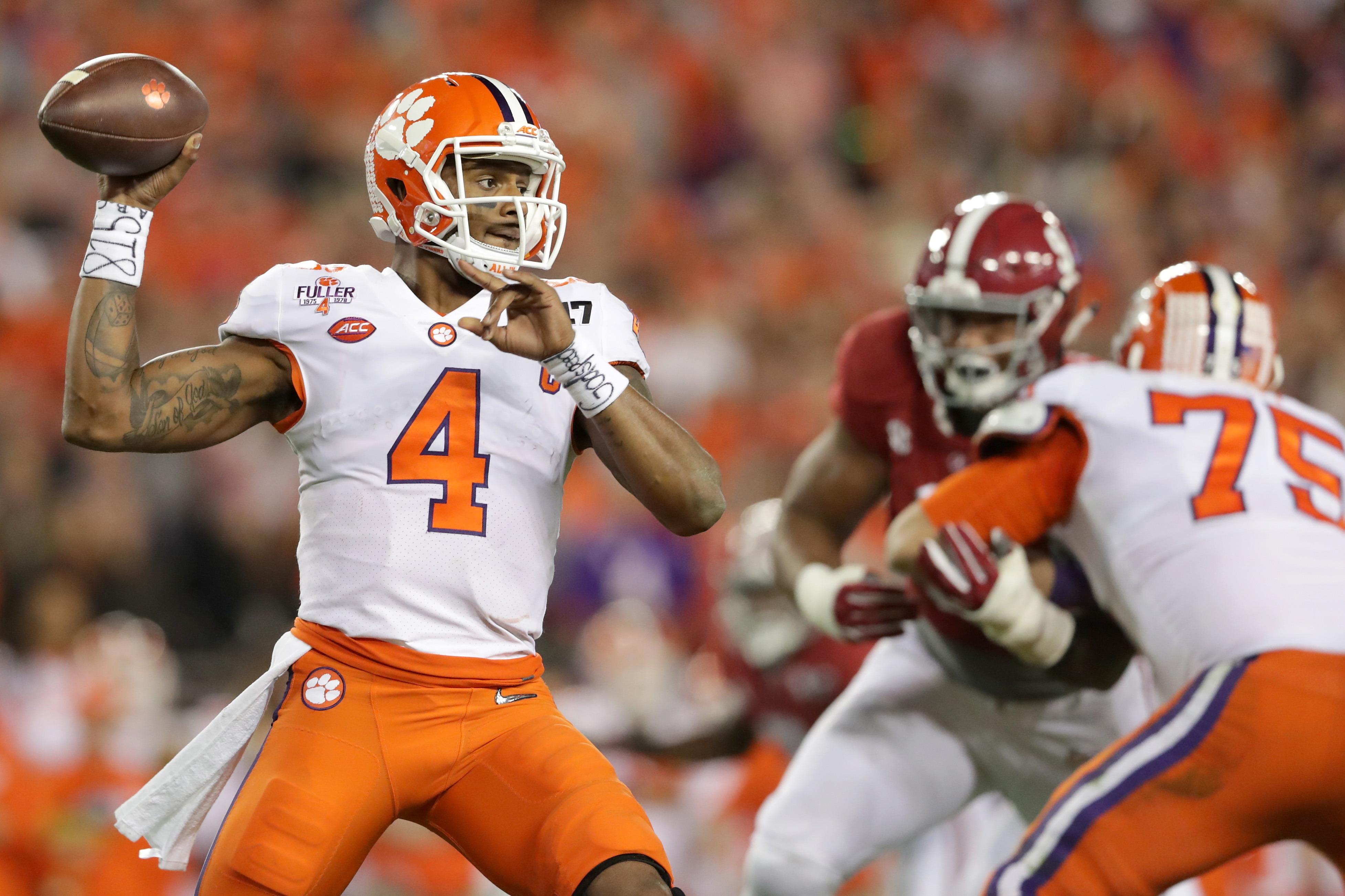Clemson quarterback Deshaun Watson has made a leap up projected draft boards after beating Alabama in the national championship game. (Getty Images)