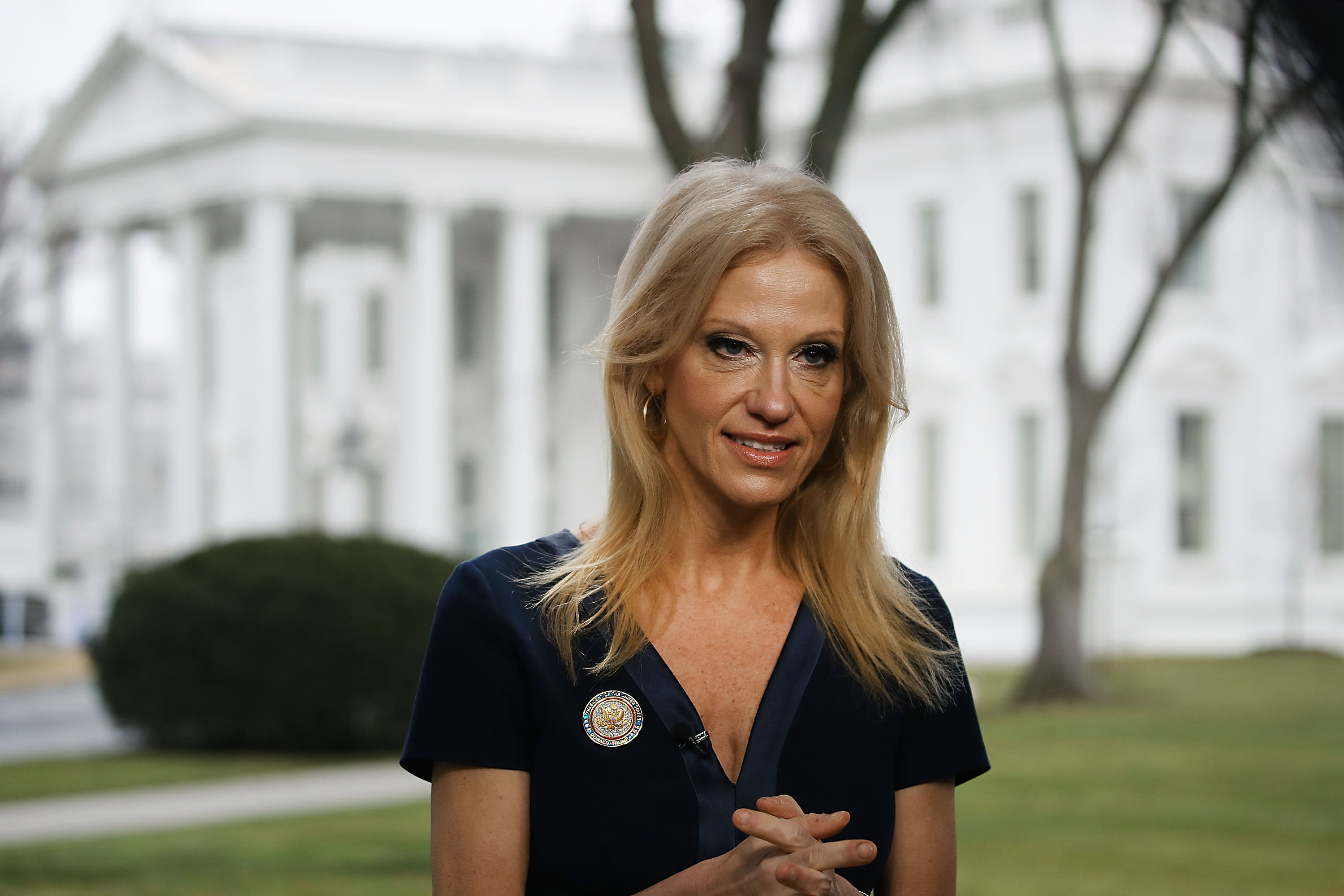 """Kellyanne Conway, counselor to the president, said Monday on CNN that surveillance can even be carried out with """"microwaves that turn into cameras.' (Getty Images)"""