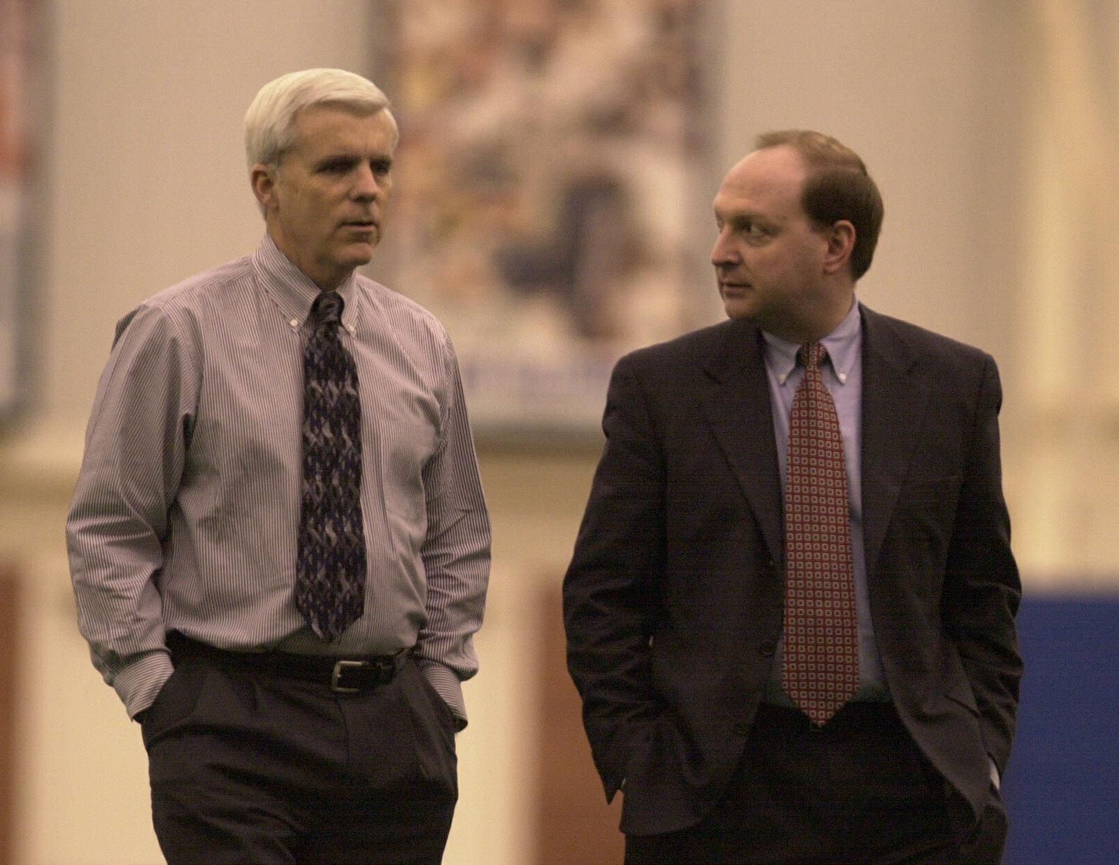 Jim Overdorf, shown here on the right in a 2001 photo with former Bills General Manager Tom Donahoe, largely stays out of the public eye, but plays a key role. (Buffalo News file photo).