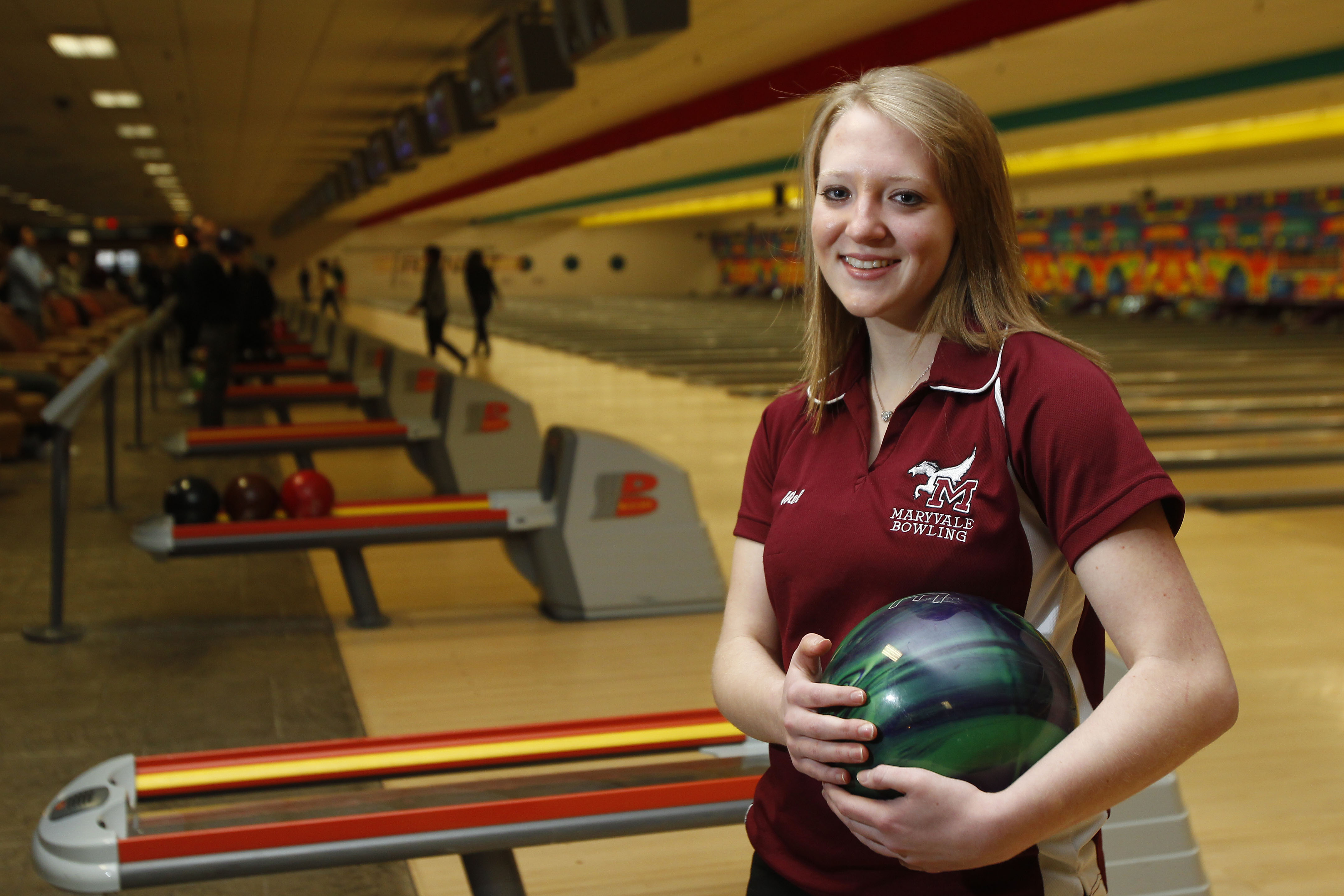 Fairleigh Dickinson's Melanie Hannon, back in the days when she bowled for Maryvale. (Mark Mulville/Buffalo News}