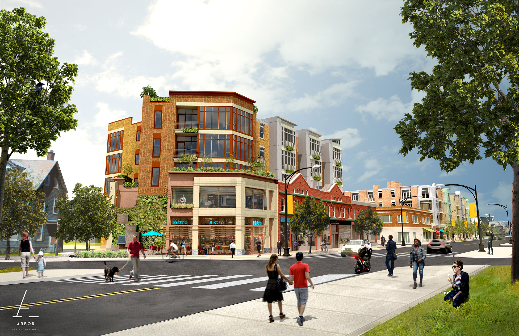 A new mixed-use development at Elmwood Avenue and Bidwell Parkway would include nearly 100 condominiums and apartments, eight retail storefronts and a three-level parking structure.