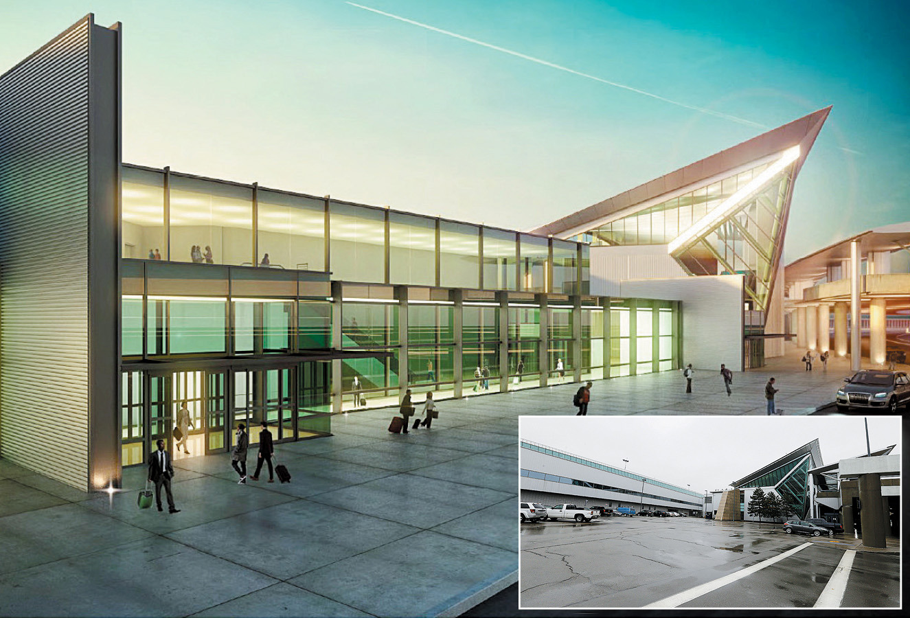 A rendering shows what the Buffalo Niagara International Airport is expected to look like when renovations are complete in 2019. In the lower right corner is an inset photo of what it looks like now.