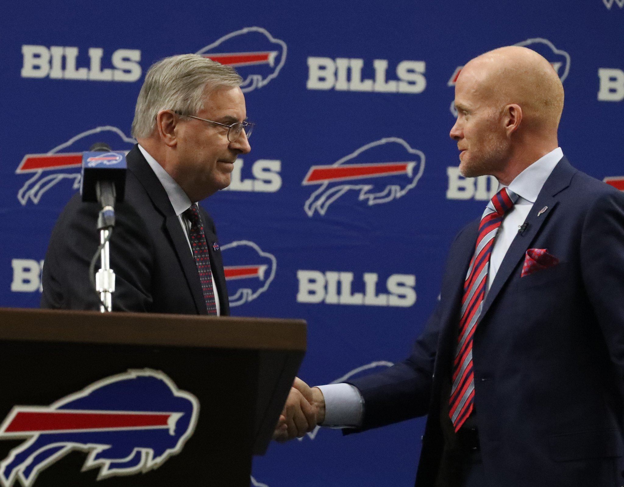 Bills owner Terry Pegula did not introduce Anthony Lynn as his new head coach. (James P. McCoy/Buffalo News)