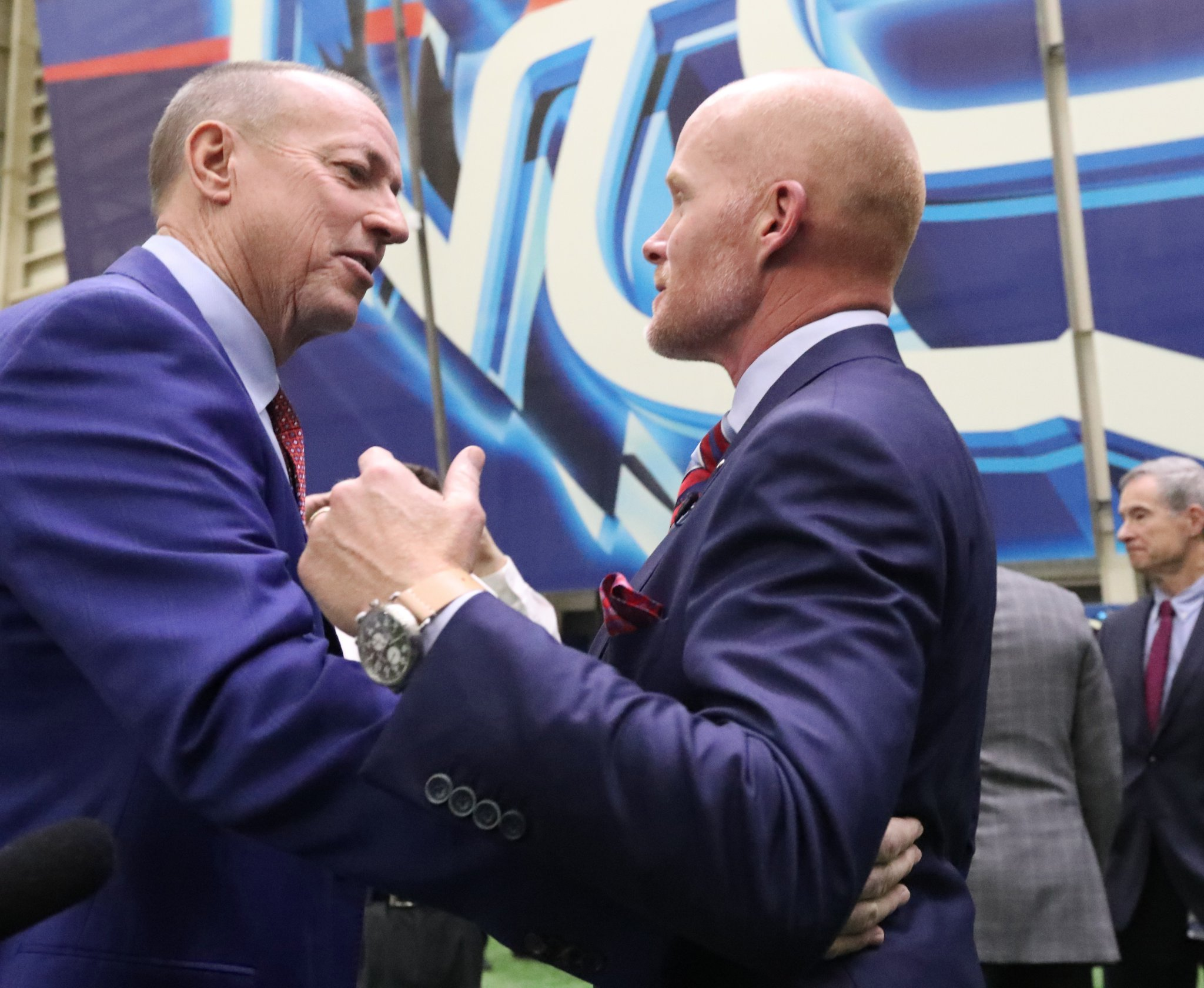 Jim Kelly introduces himself to new Buffalo Bills coach Sean McDermott in January. (James P. McCoy/Buffalo News)