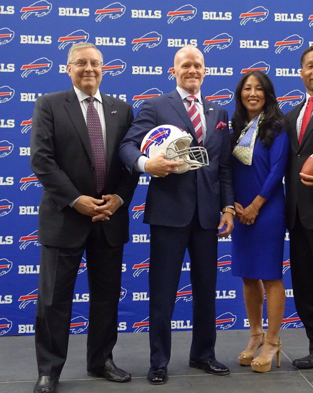 From left to right: Terry Pegula, Sean McDermott, Kim Pegula and nobody else. (John Hickey/Buffalo News)