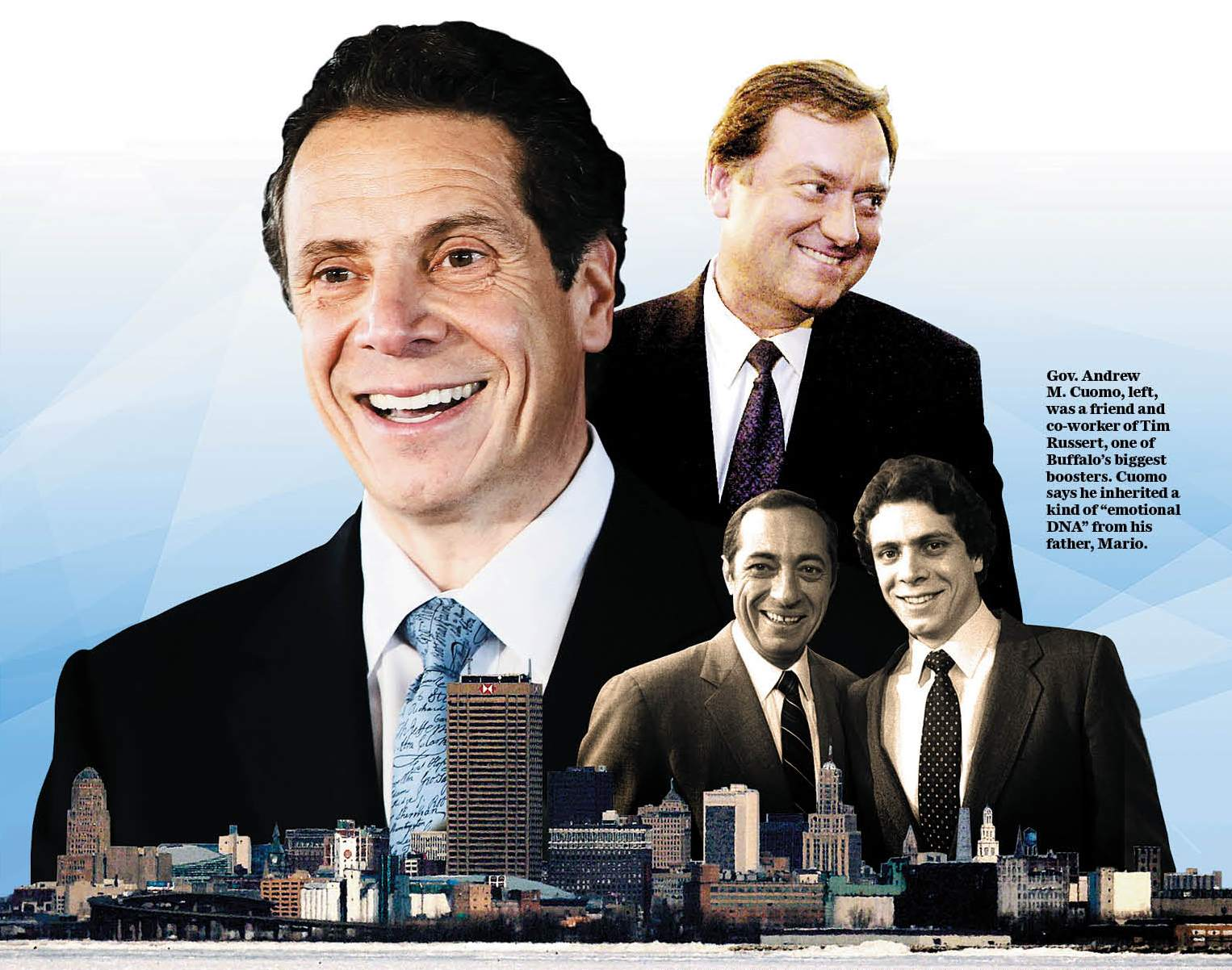Photos by Derek Gee/Buffalo News; New York Times file photo of Mario Cuomo; Buffalo News photo illustration.