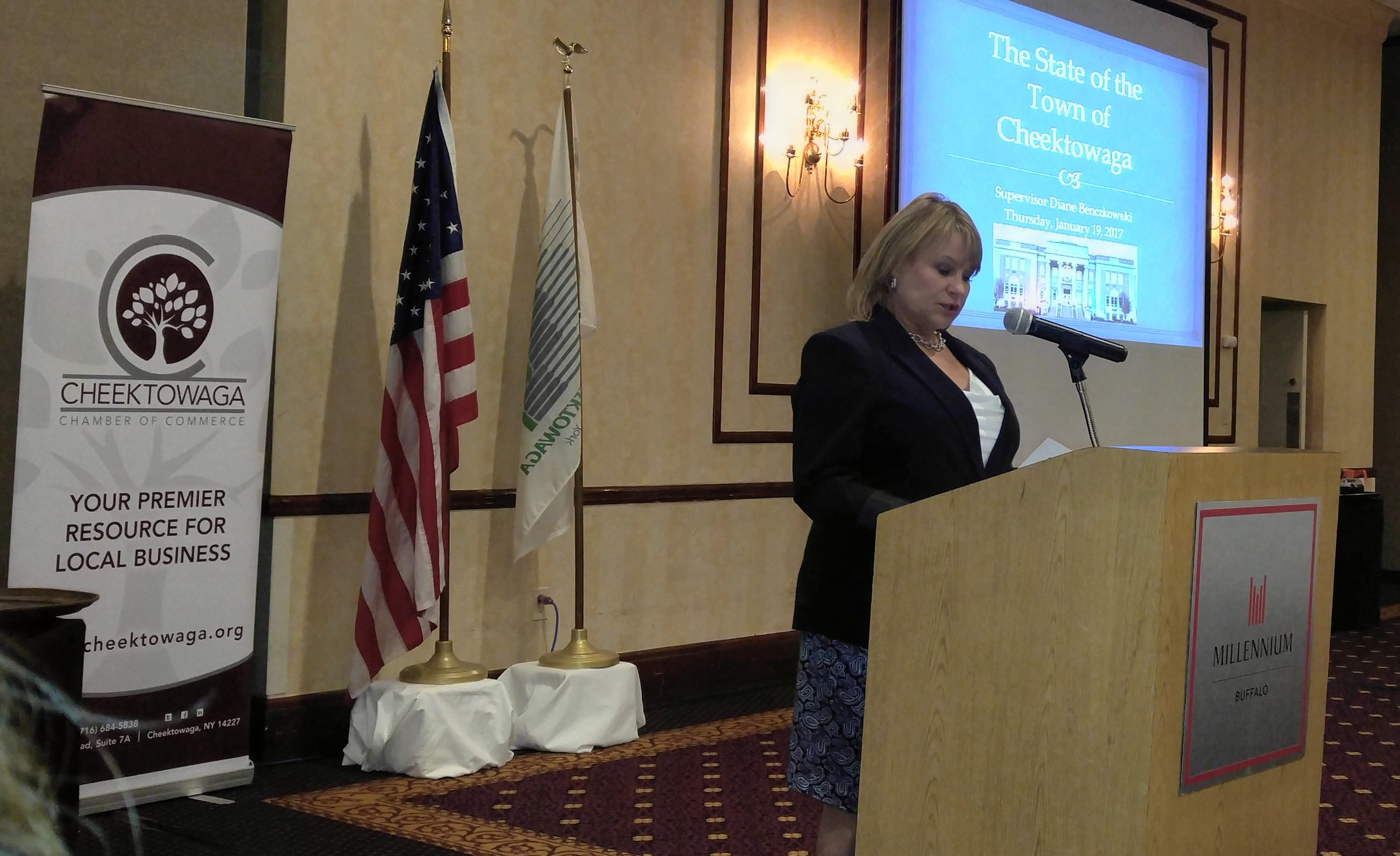 Town of Cheektowaga Supervisor Diane Benczkowski delivers her State of the Town address on Thursday, Jan. 19, 2017 at the at Millennium Hotel Buffalo in Buffalo, N.Y. (Jane Kwiatkowski Radlich / The Buffalo News)