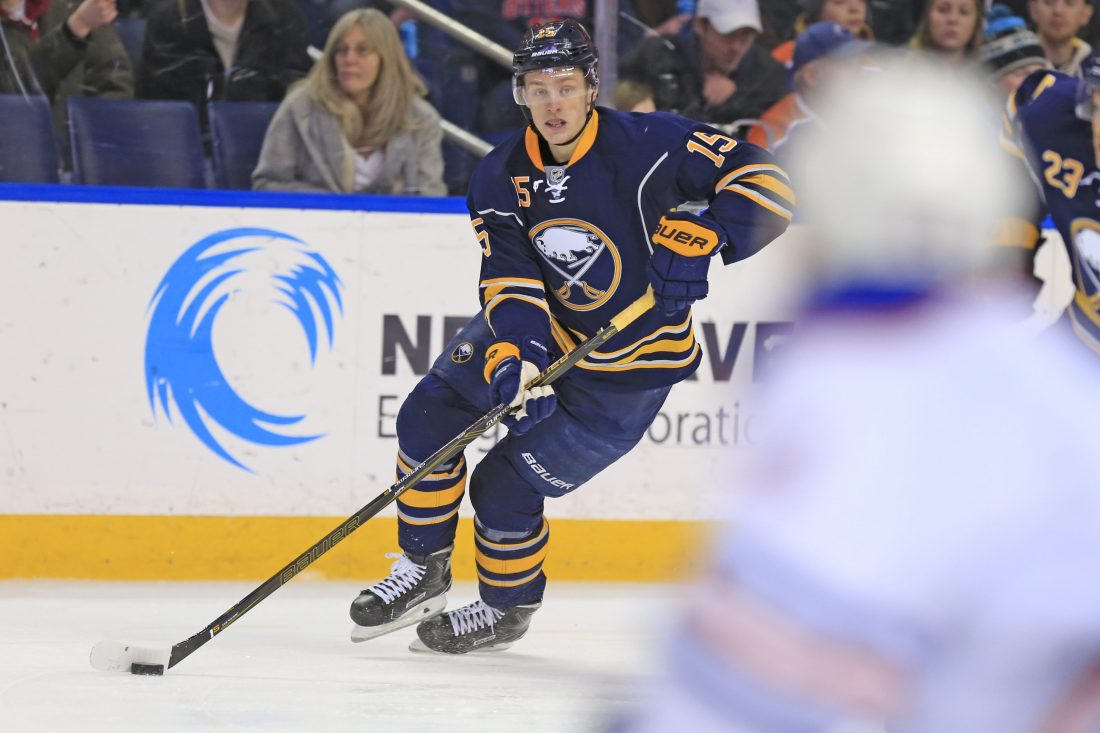 Jack Eichel played his 100th NHL game Tuesday night (Harry Scull Jr./Buffalo News).