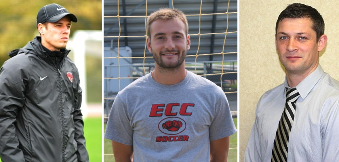 Local options for the vacant FC Buffalo head coaching position include, from left, Bobby McColl, John Grabowski and Micky Blythe. (images via Daemen, ECC, Medaille)
