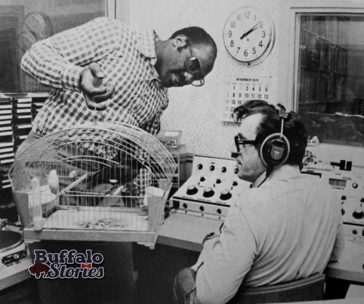 Buffalo Bills guard Reggie McKenzie and WADV-FM disc jockey Fred Klestine.