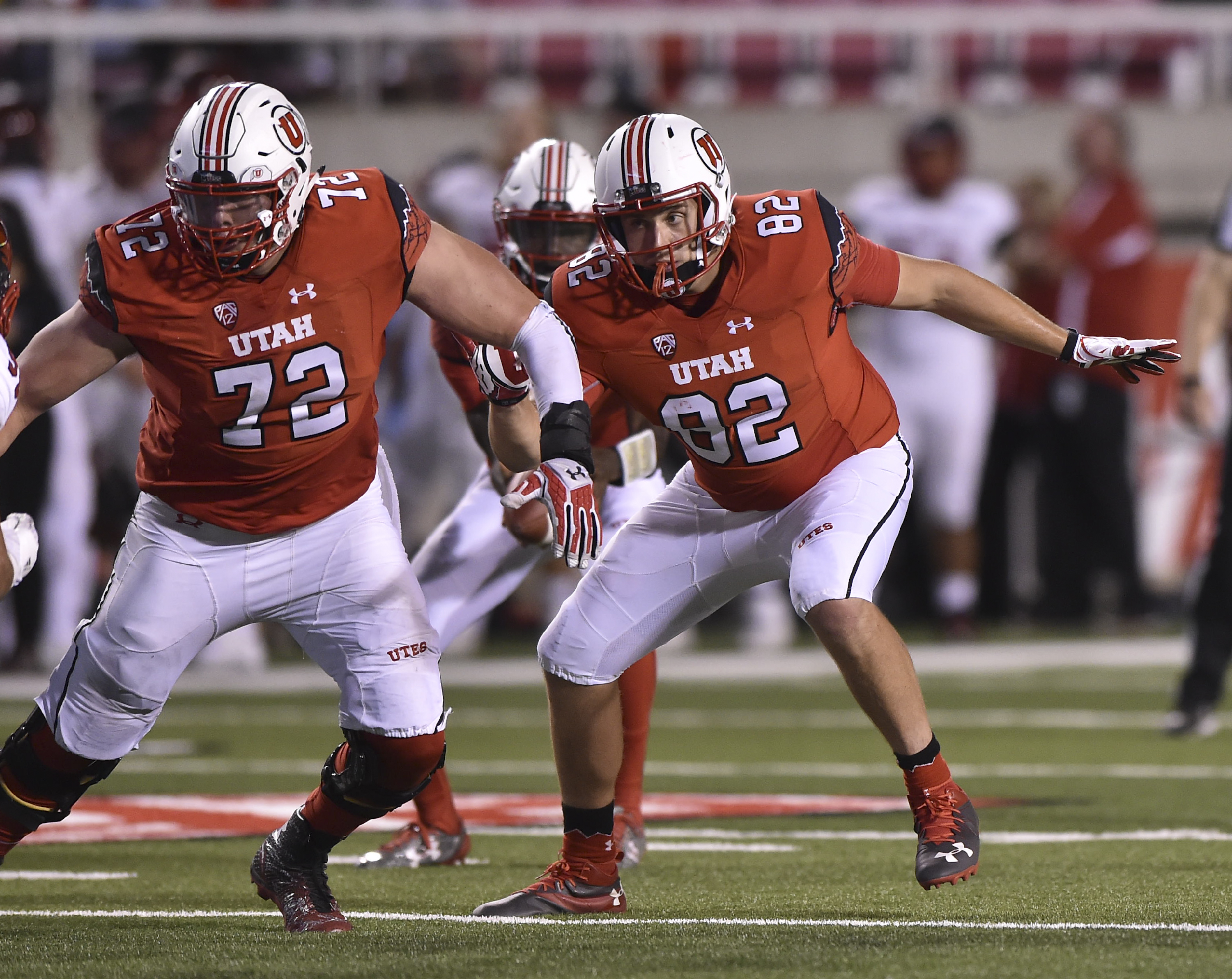Utah offensive lineman Garett Bolles (72) is a possible first-round draft pick. (Getty Images)