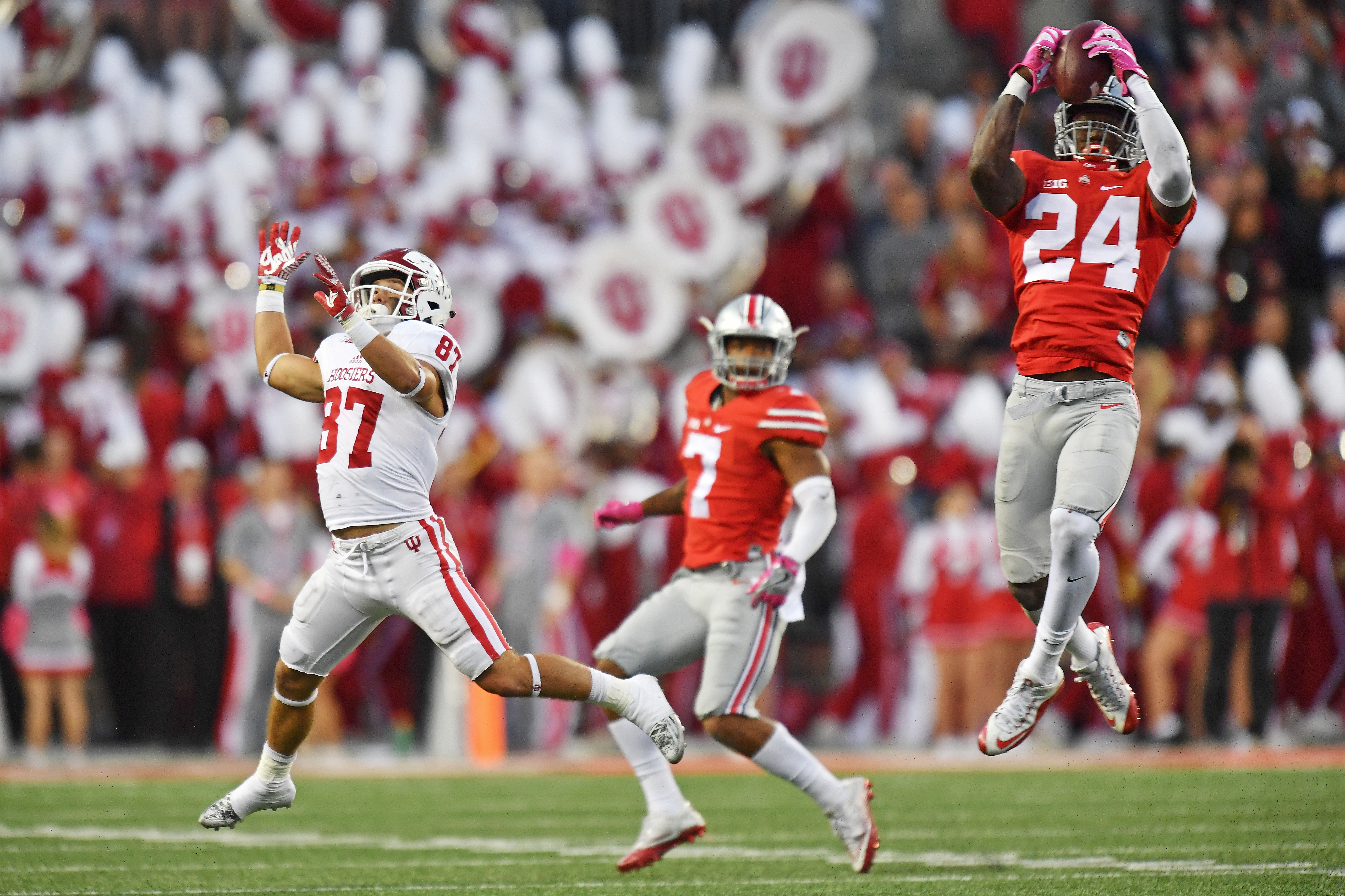 Ohio State's Malik Hooker (24) is a popular pick for the Buffalo Bills in early mock drafts. (Getty Images)